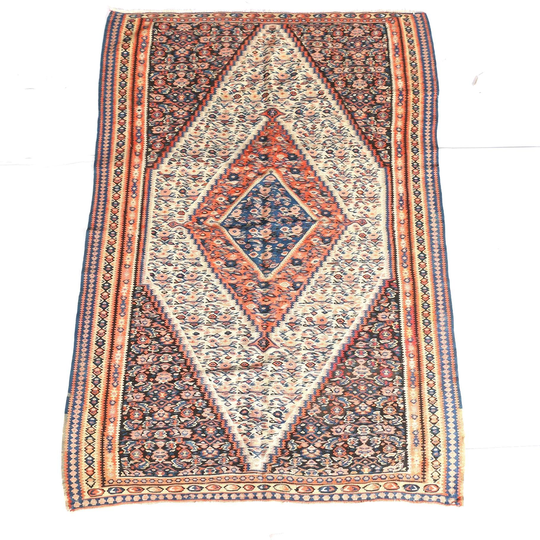 Antique Handwoven Persian Senneh Kilim, Circa 1920