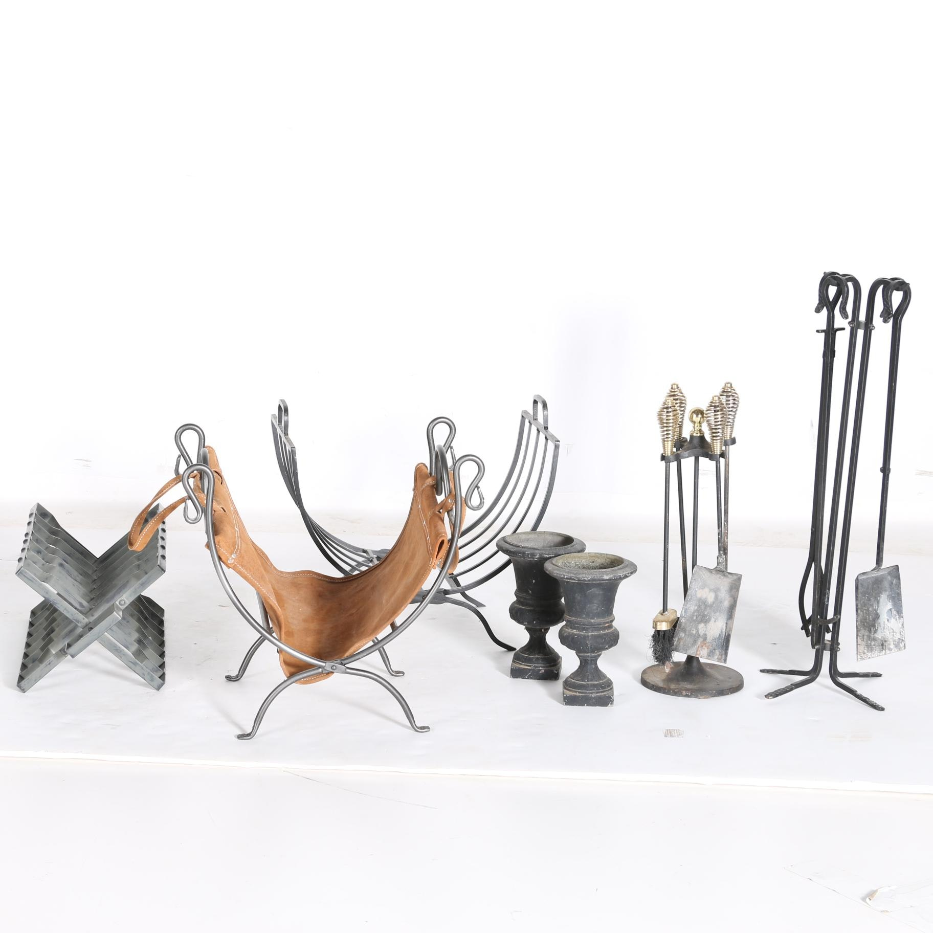 Iron Log Holders and Fireplace Sets