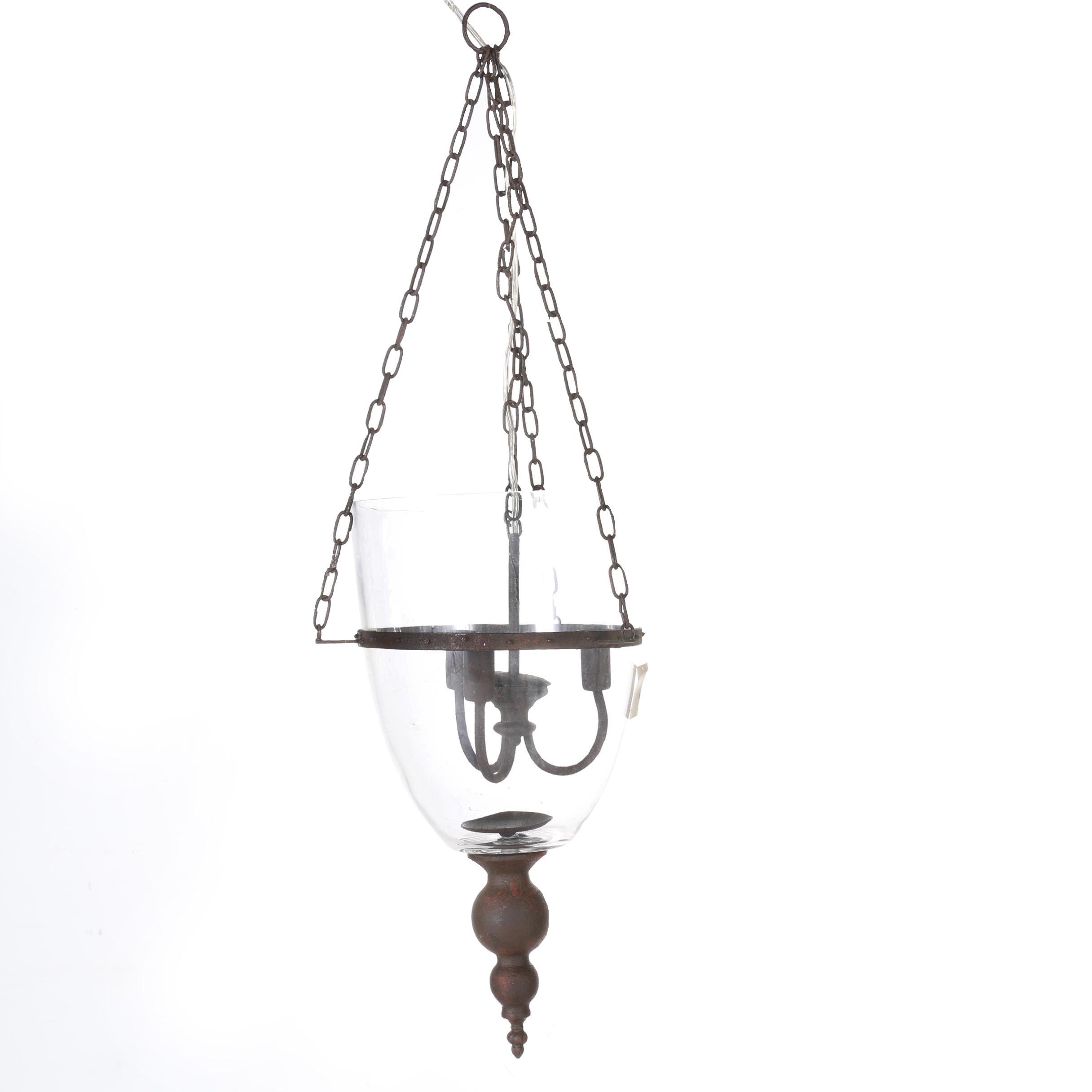 Bell jar lighting fixtures Glass Lantern Bellacor Metal Framed Hanging Bell Jar Light Fixture Ebth