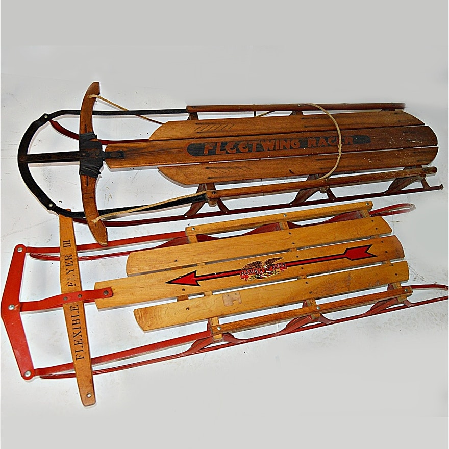 Vintage flexible flyer and fleetwing snow sleds ebth for Vintage sleds
