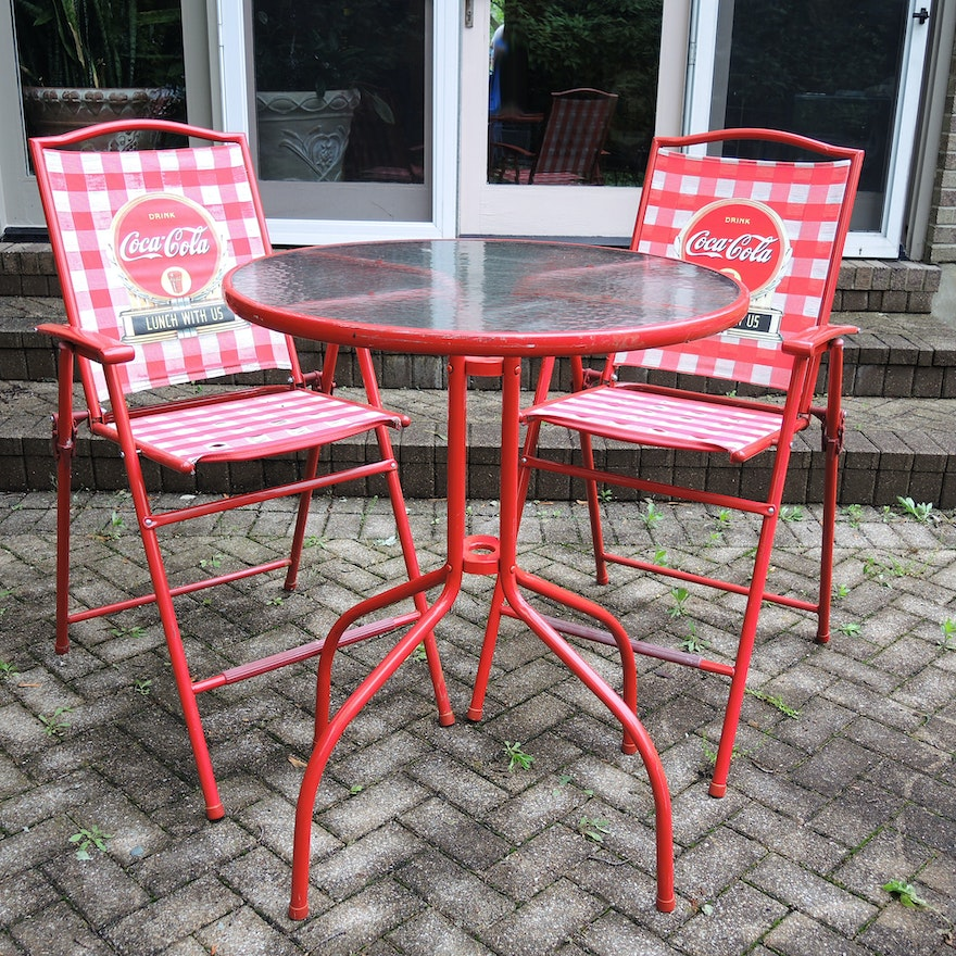 Red Coca-Cola Patio Bistro Table and Chairs Set : EBTH