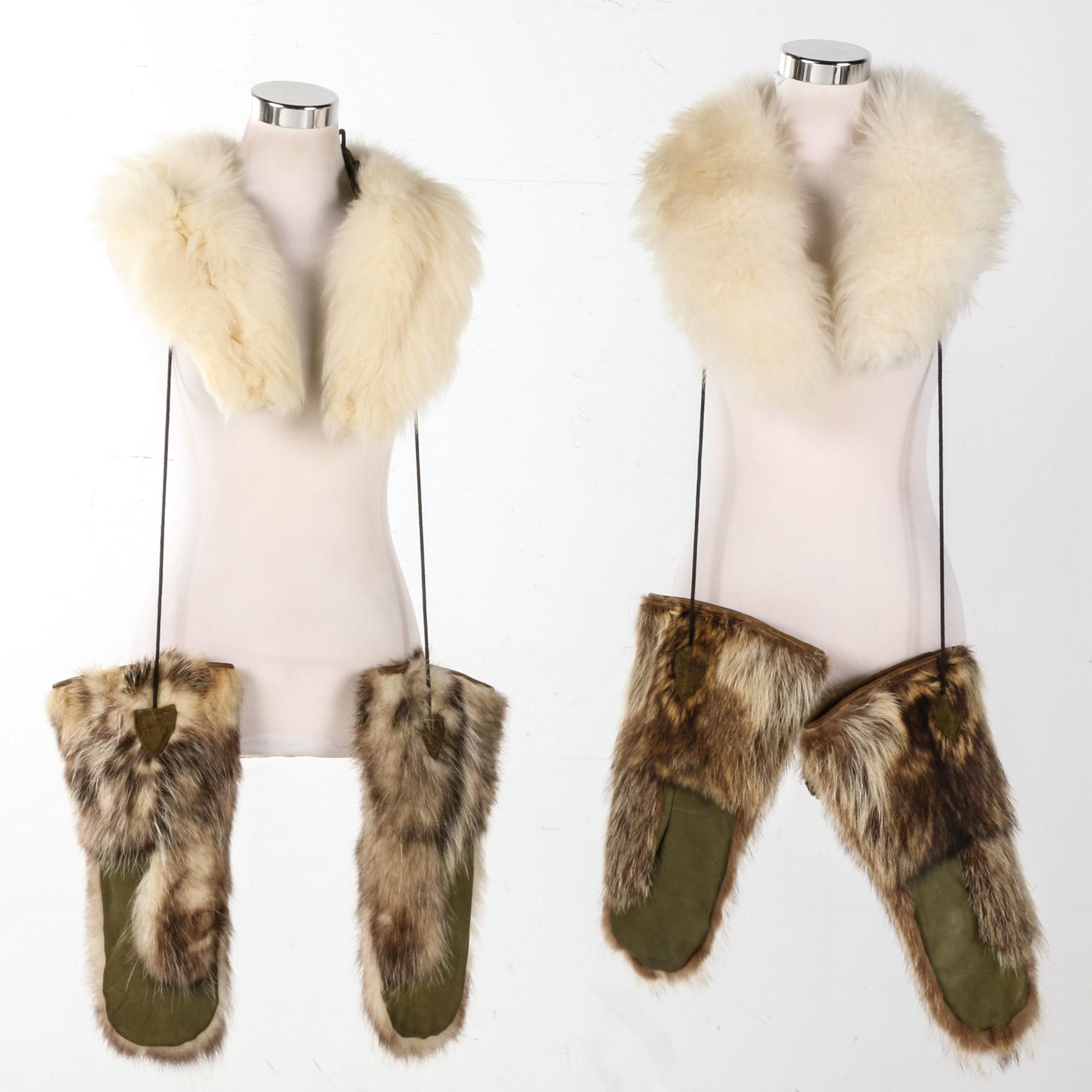 Lamb Fur Collars and Two Pairs of Badger Fur Mittens