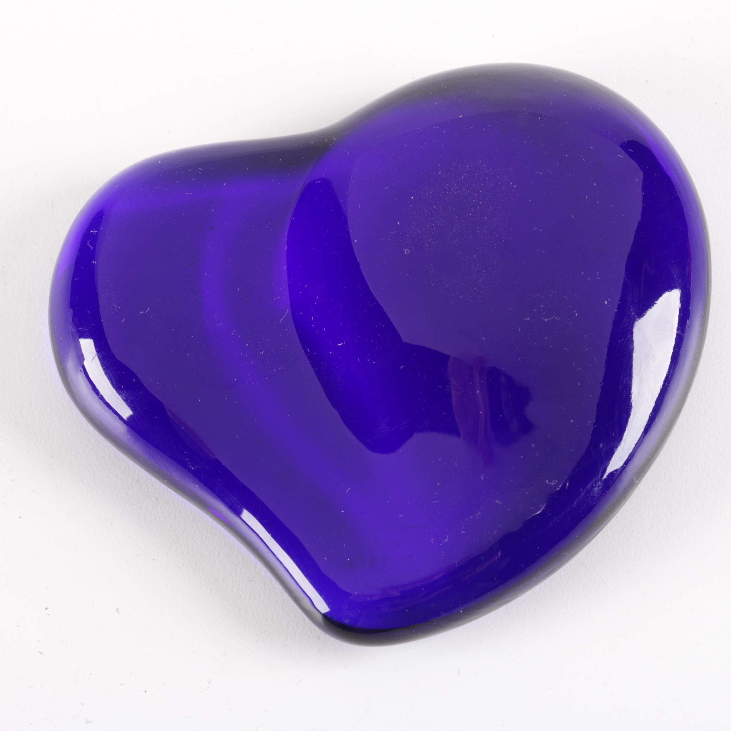 Tiffany & Co. Elsa Peretti Blue Crystal Heart Paperweight
