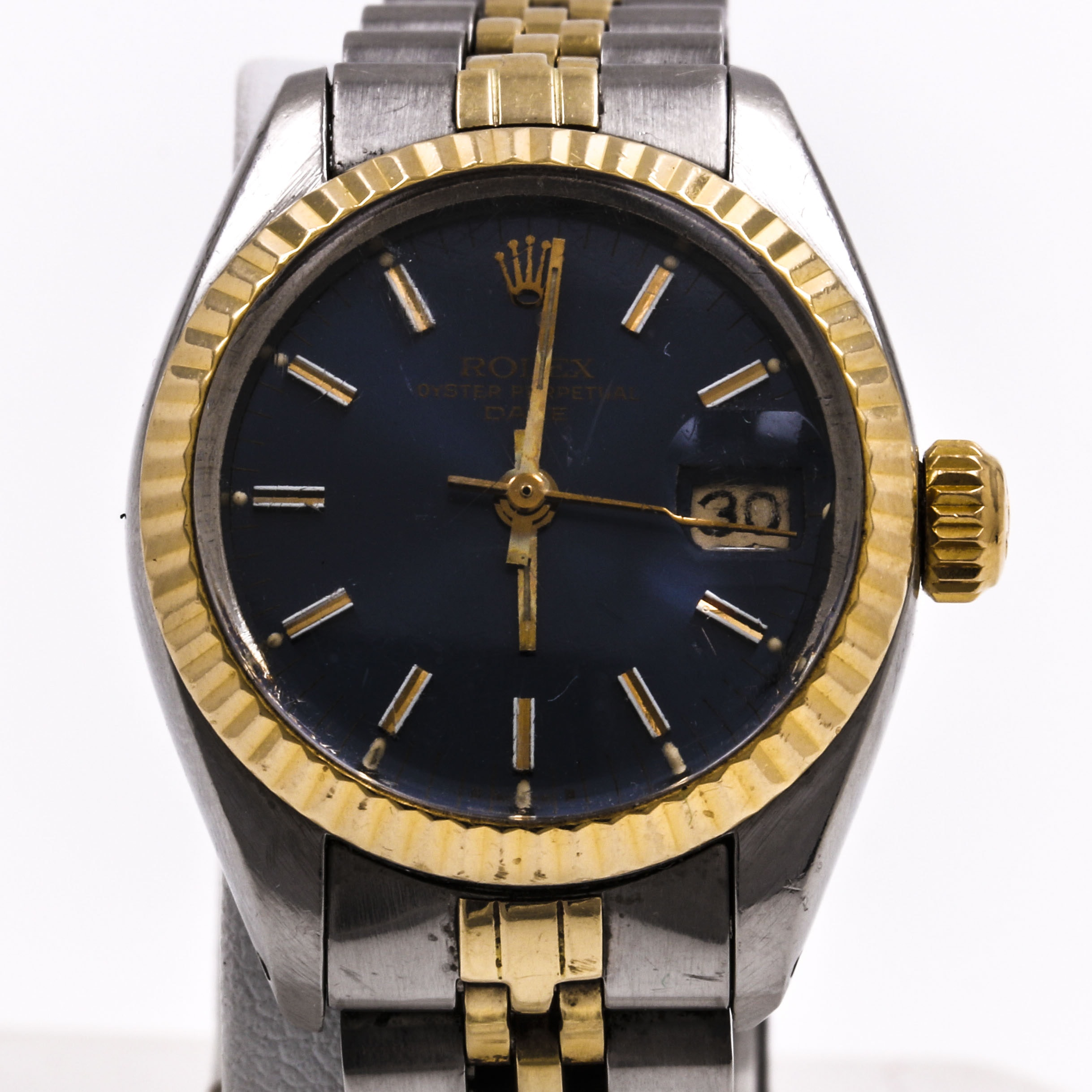 Vintage Rolex Oyster Perpetual Date 14K Yellow Gold and Stainless Steel Wristwatch