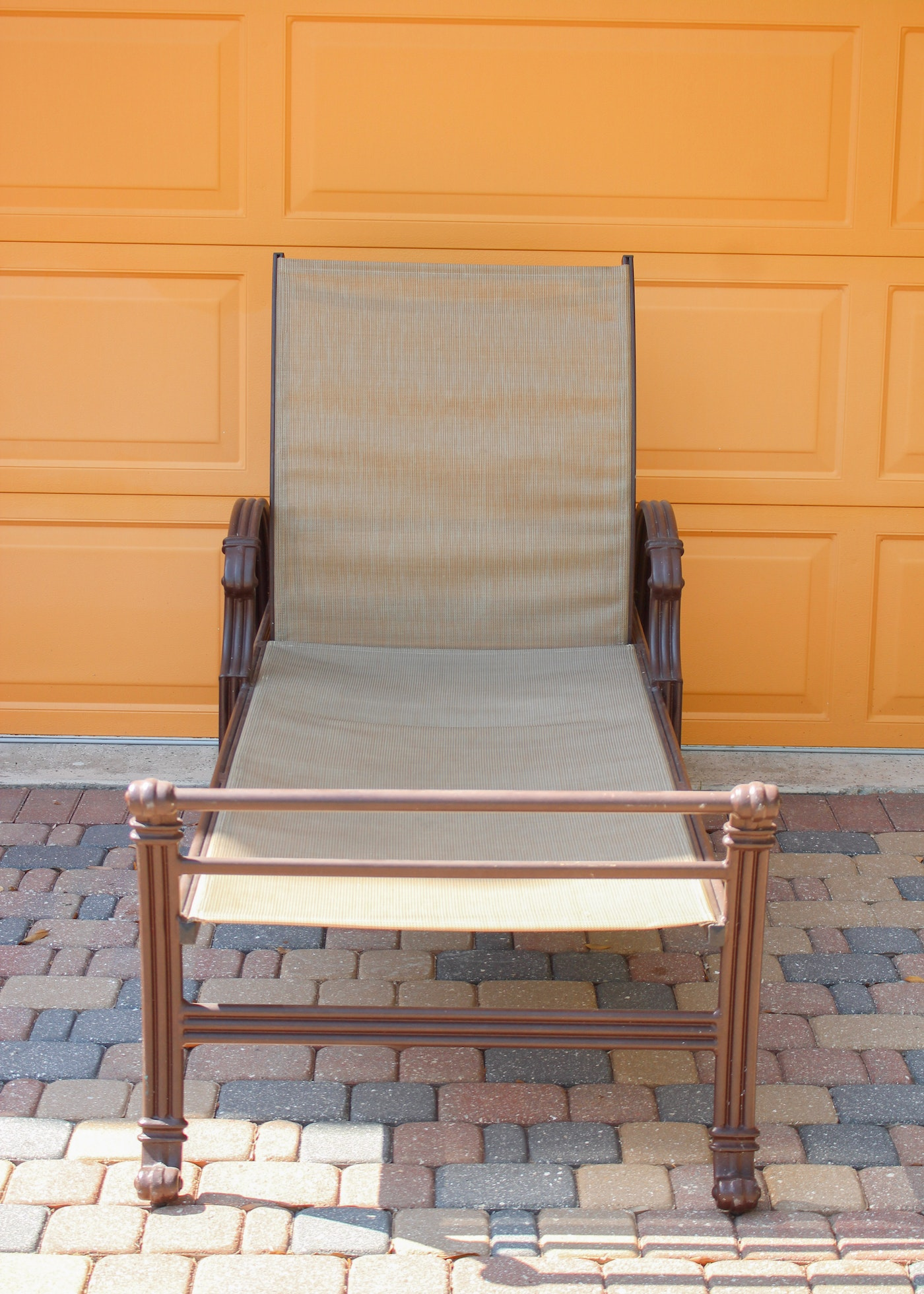 Brown Metal Outdoor Lounge Recliner Chairs By Pavillion Ebth