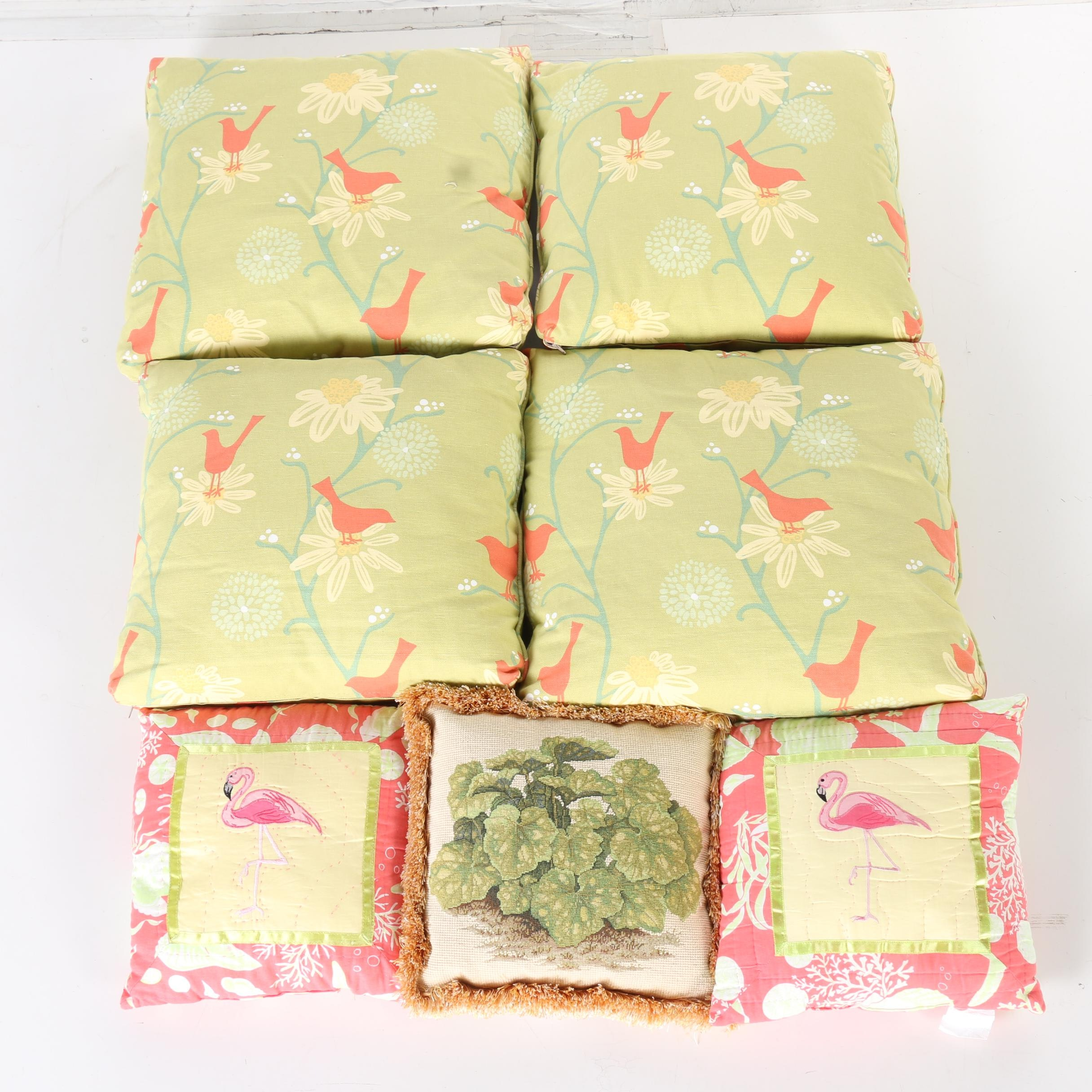 Throw Pillows With Bird and Foliage Designs