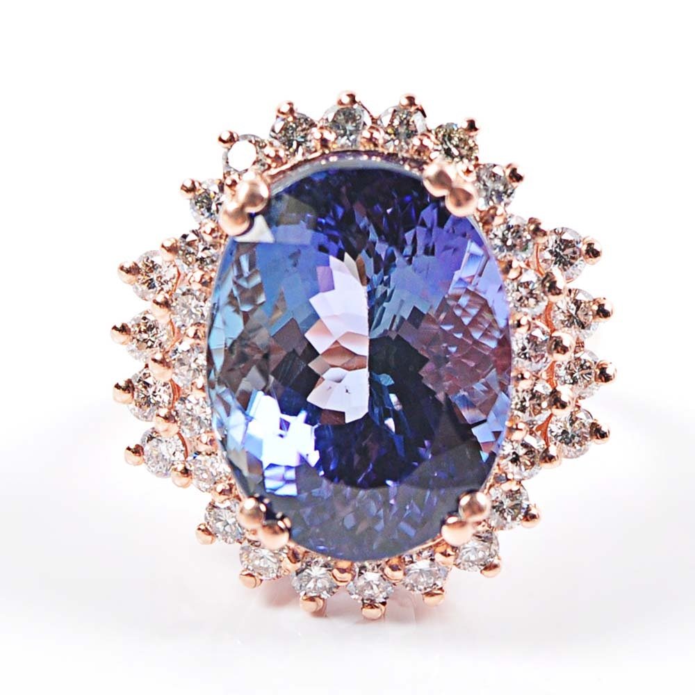 14K Rose Gold Tanzanite and Diamond Ballerina Ring