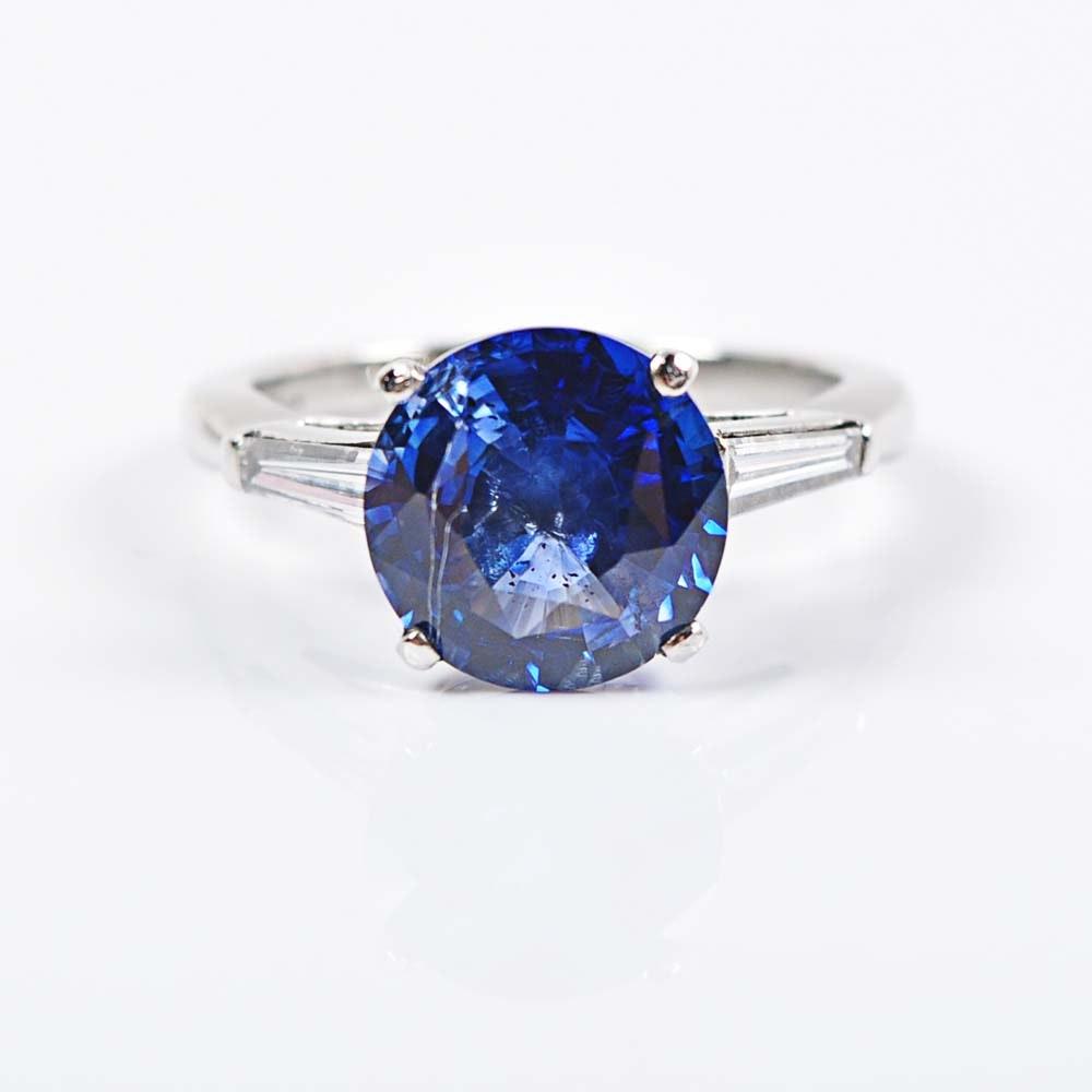 Platinum 4.25 Carat Sapphire and Diamond Ring