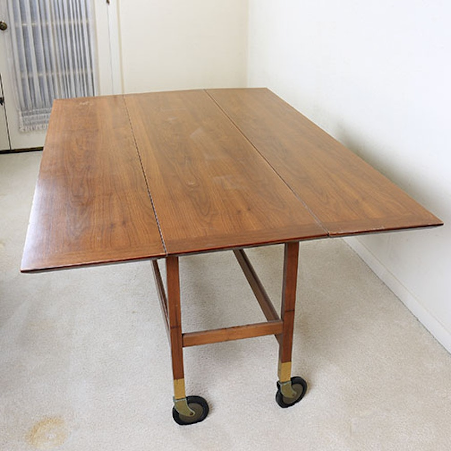 Mid Century Modern Drop Leaf Table With Casters EBTH - Mid century modern gateleg table