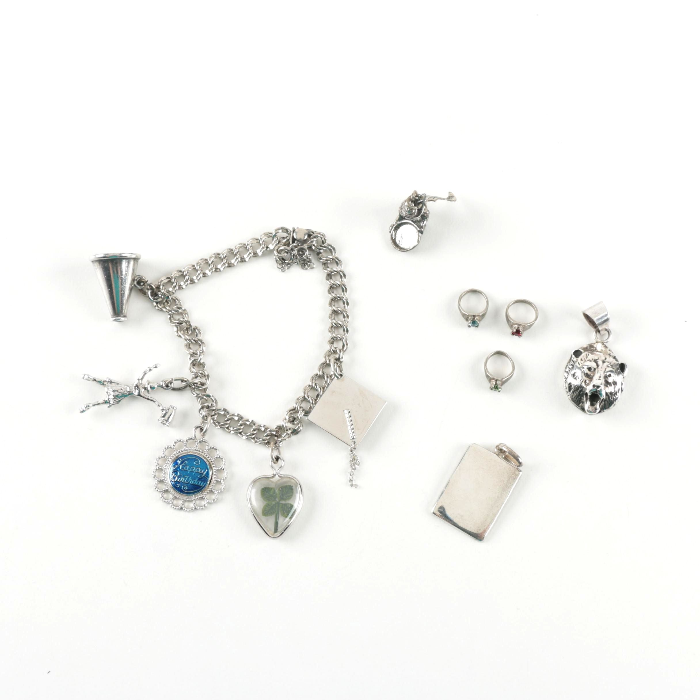 Sterling Charm Bracelet with Loose Charms and Pendants
