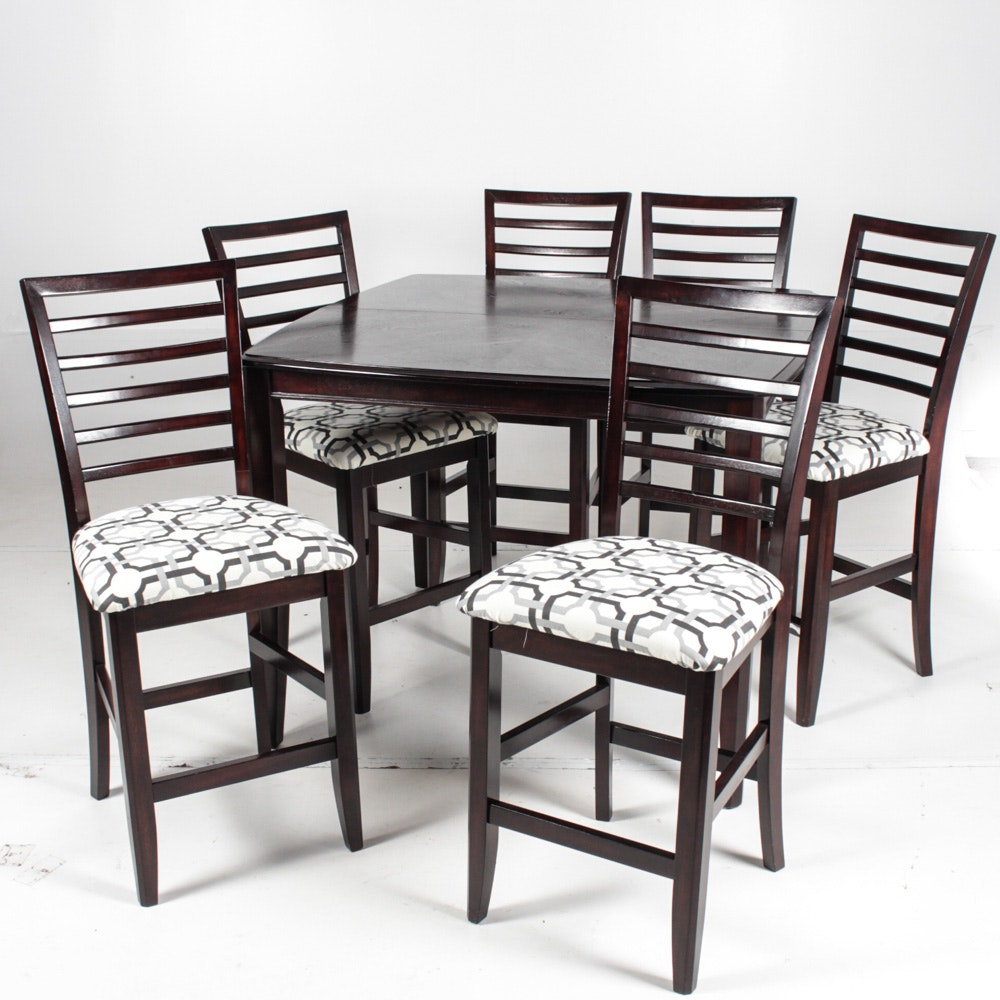 Contemporary Wood High Top Dining Set