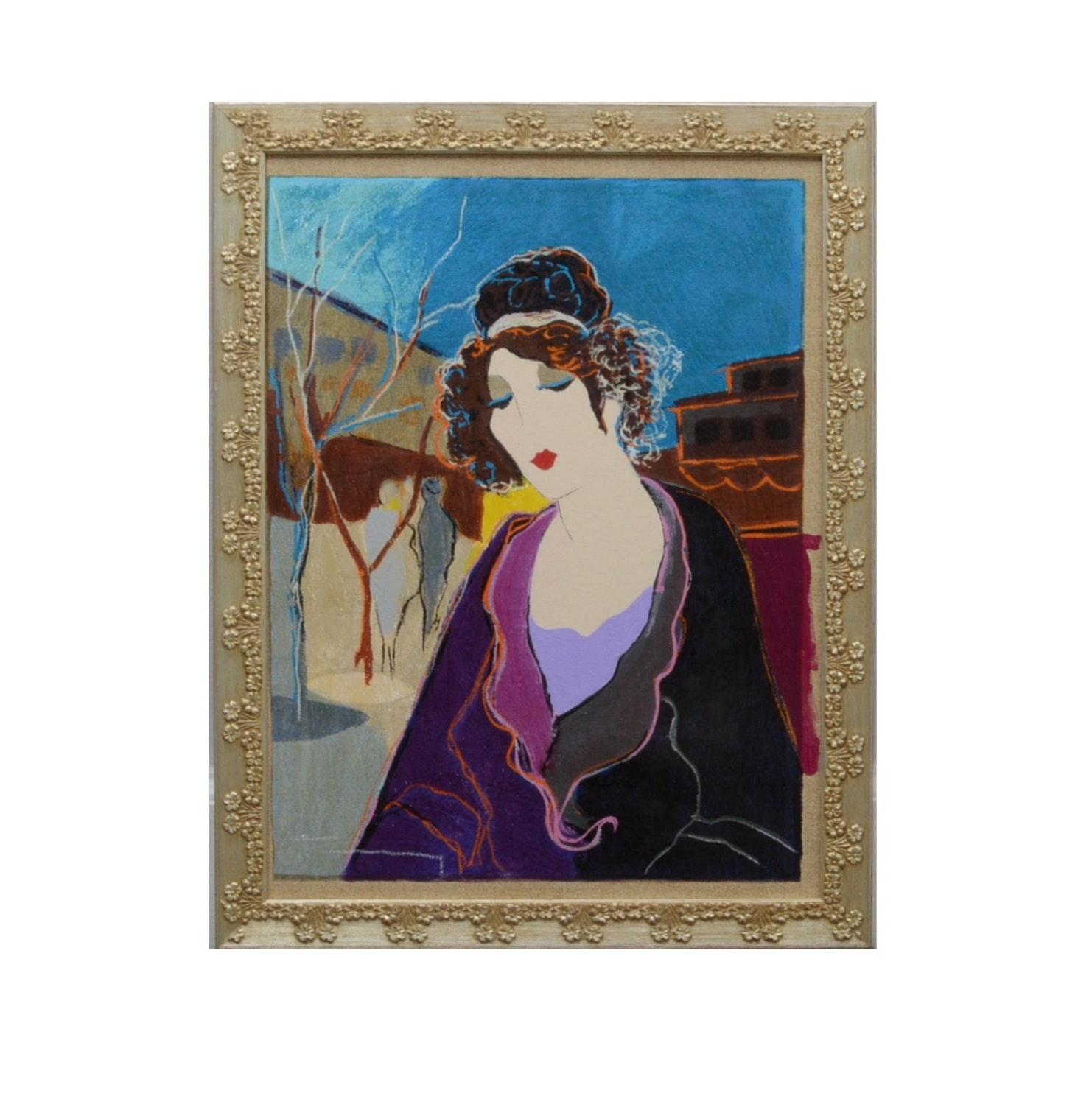 "Signed Acrylic by Yitzchak Tarkay Entitled ""Babette"""