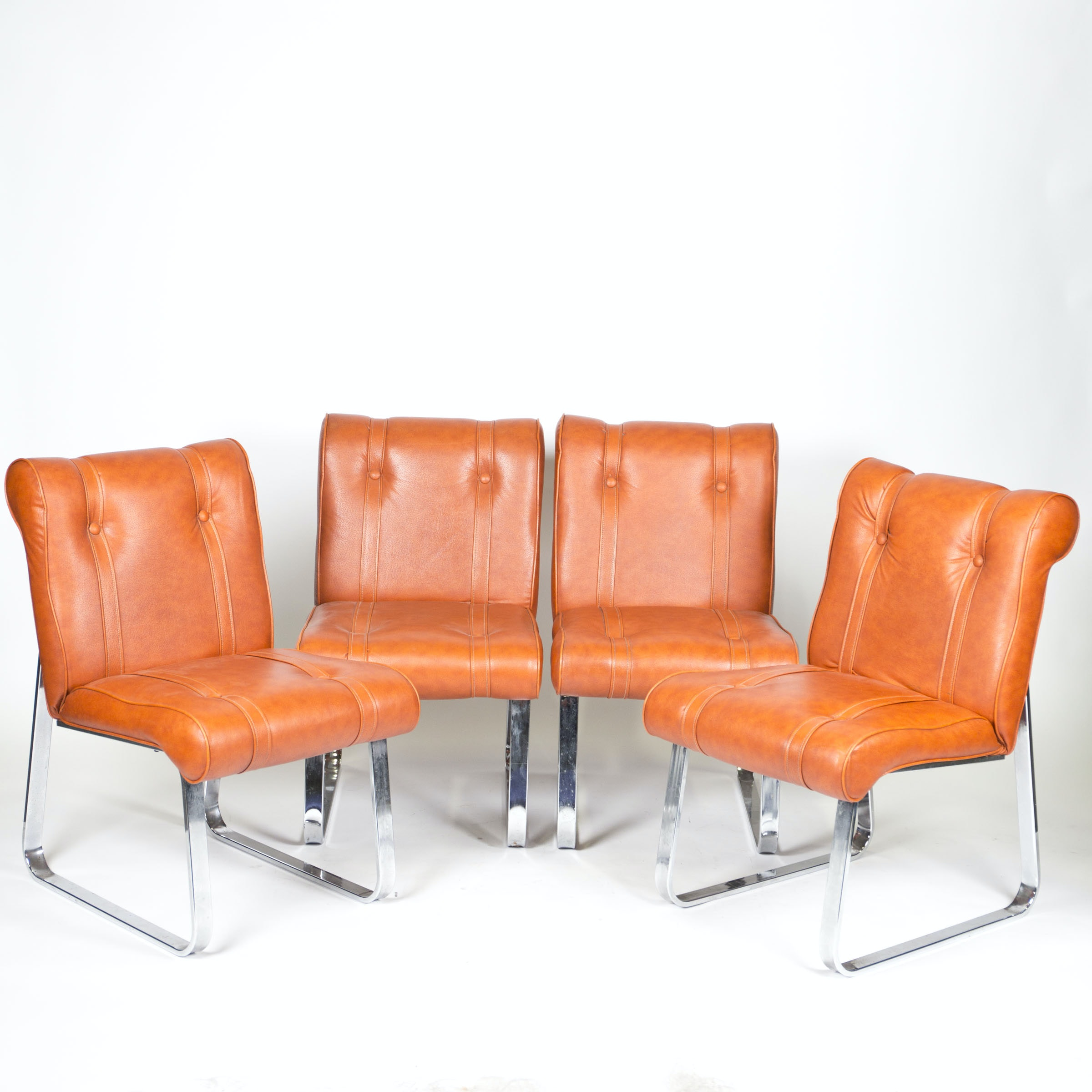 Mid Century Modern Vinyl And Chrome Chairs By Douglas Furniture Ebth