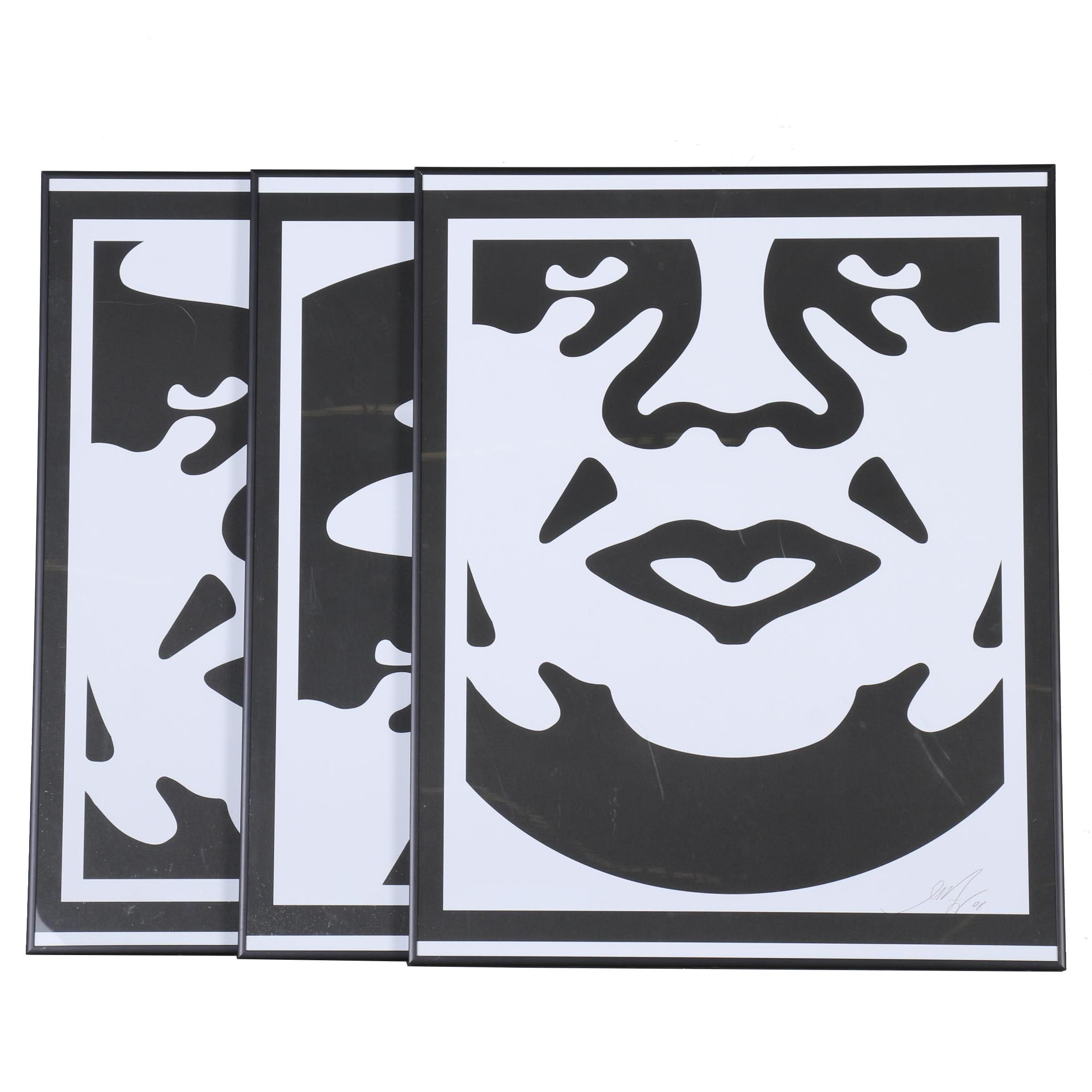 """Signed Shepard Fairey Lithographic Prints """"Obey 3-Face"""""""