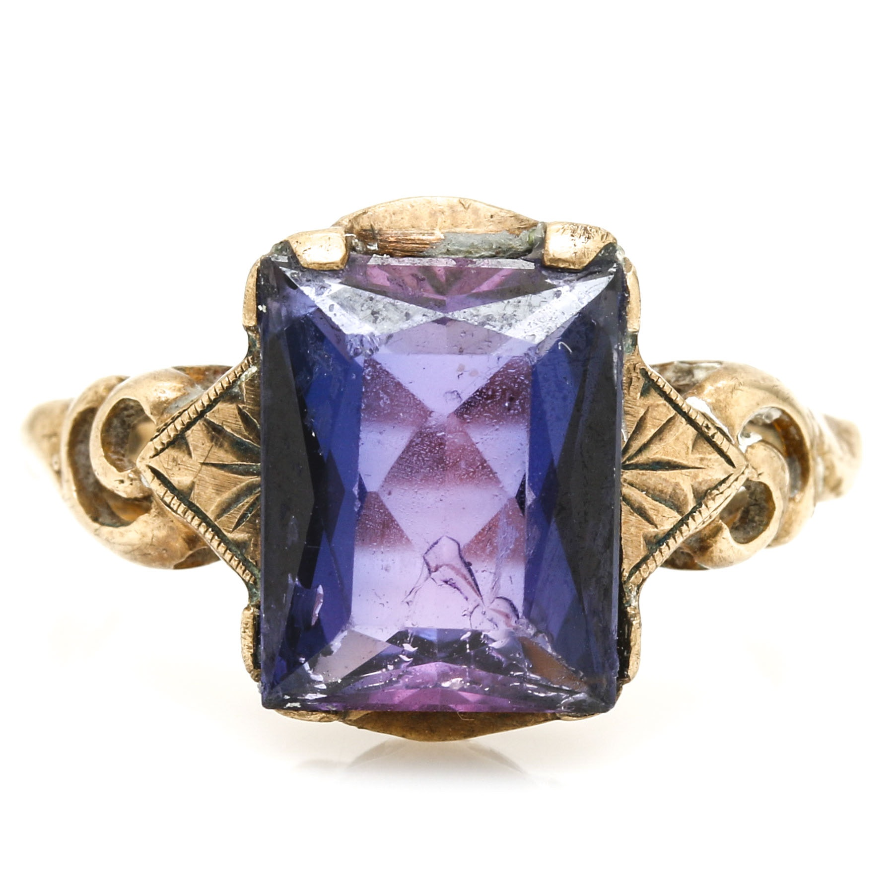 10K Yellow Gold Corundum Ring