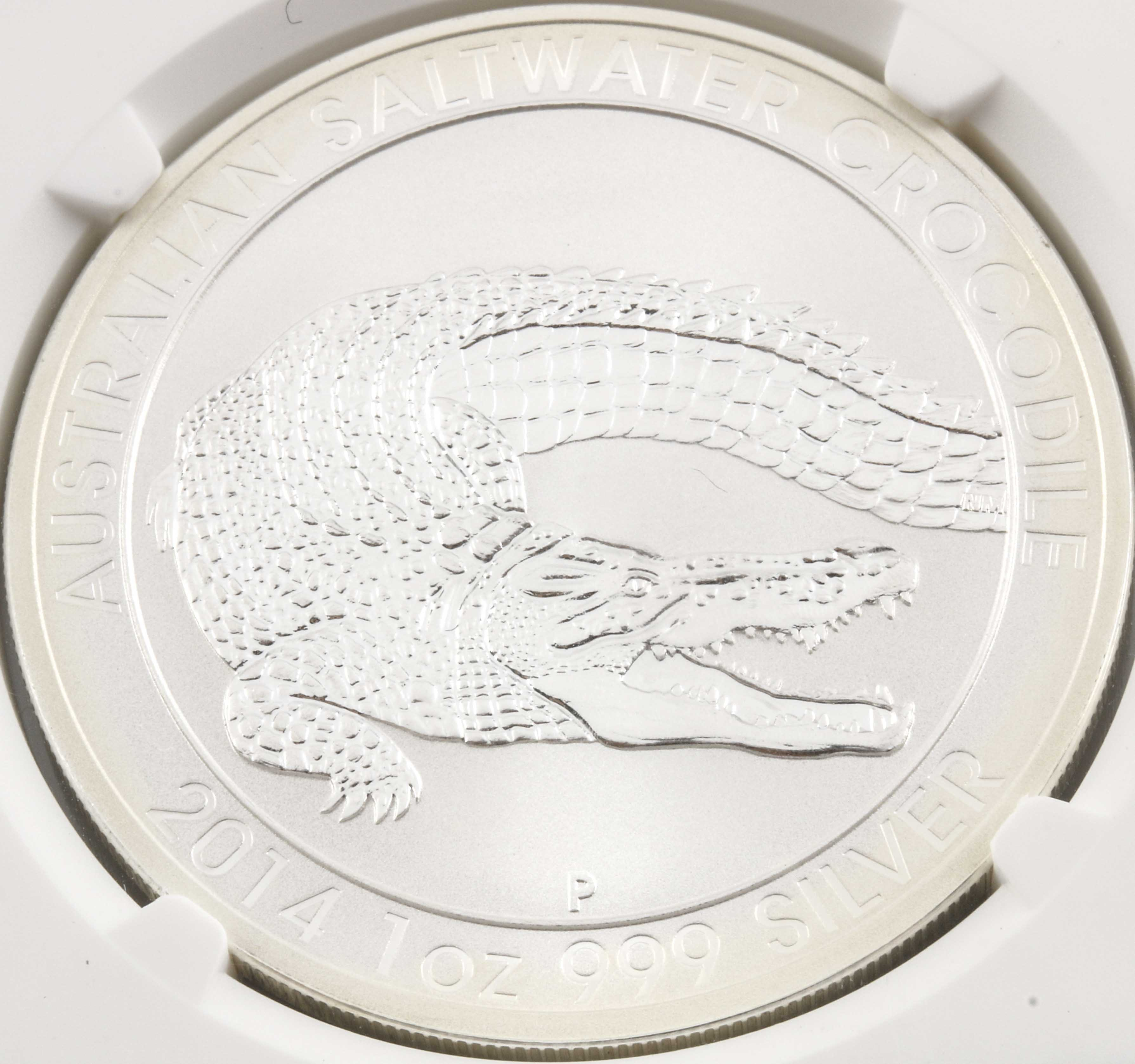 Encapsulated and Graded MS70 (by NGC) 2014 P Australian Saltwater Crocodile One-Dollar Silver Coin
