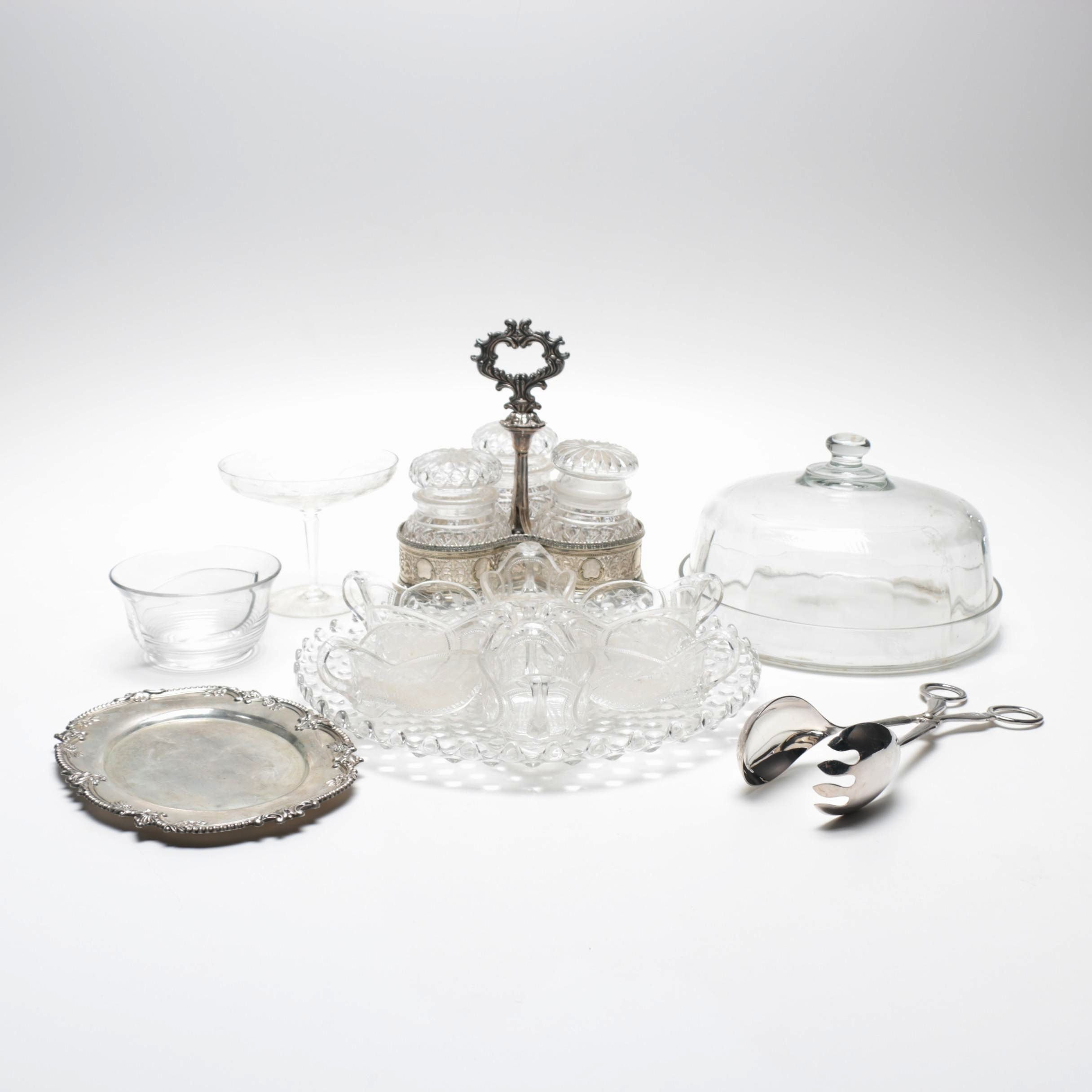 Collection of Vintage Glass Crystal and Silver Plated Entertaining Essentials