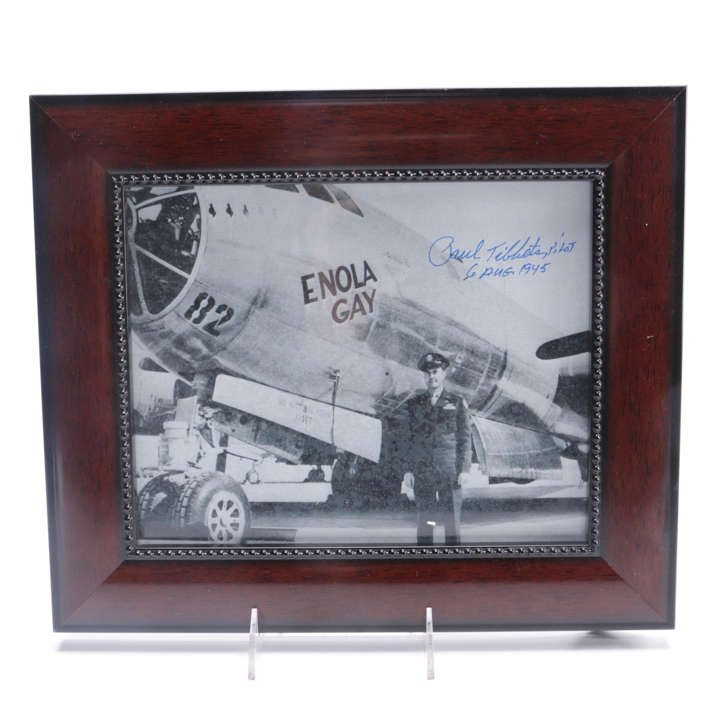 Signed Photograph of General Paul Tibbets with the Enola Gay