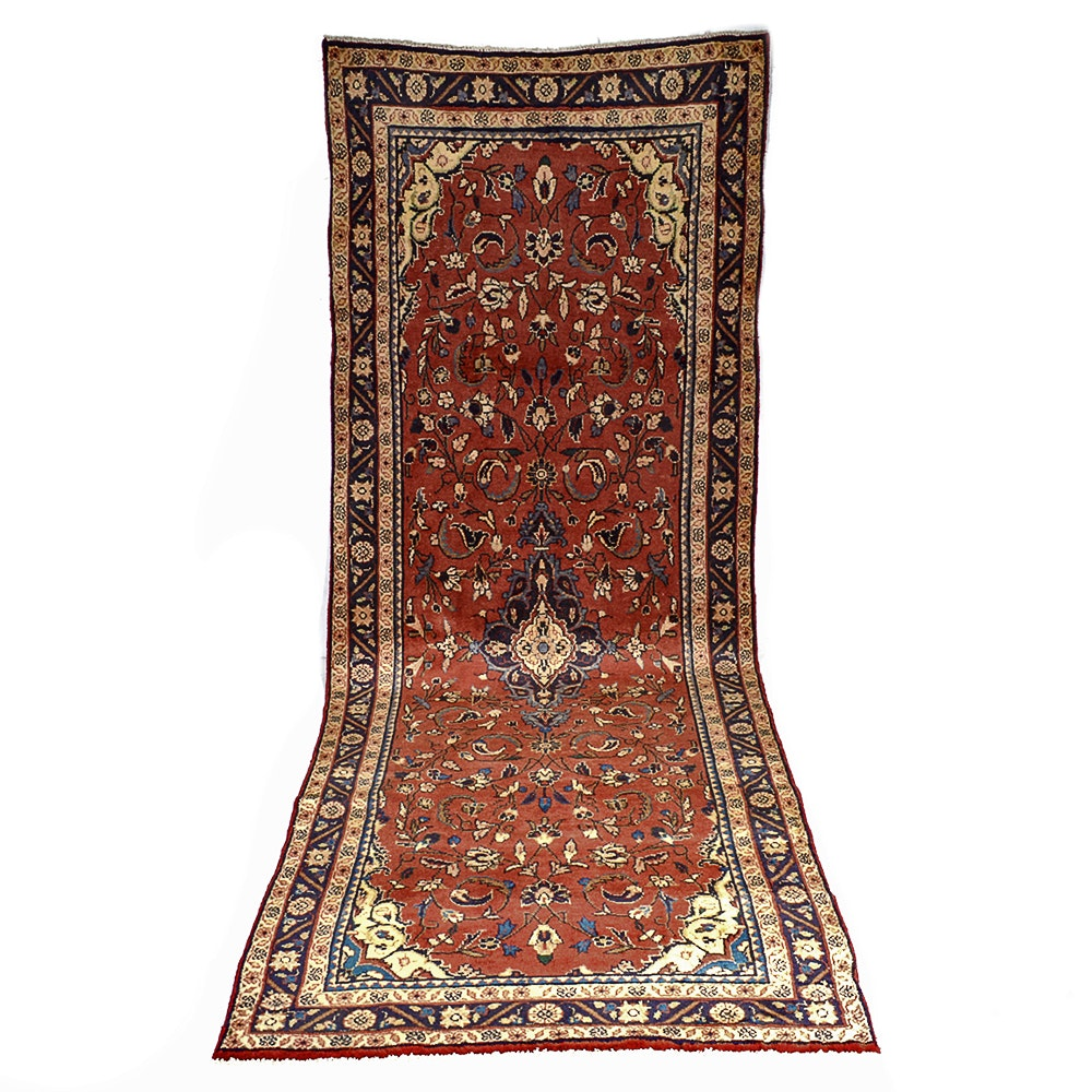 Semi-Antique Hand-Knotted Persian Lilihan Mallayer Sarouk Carpet Runner