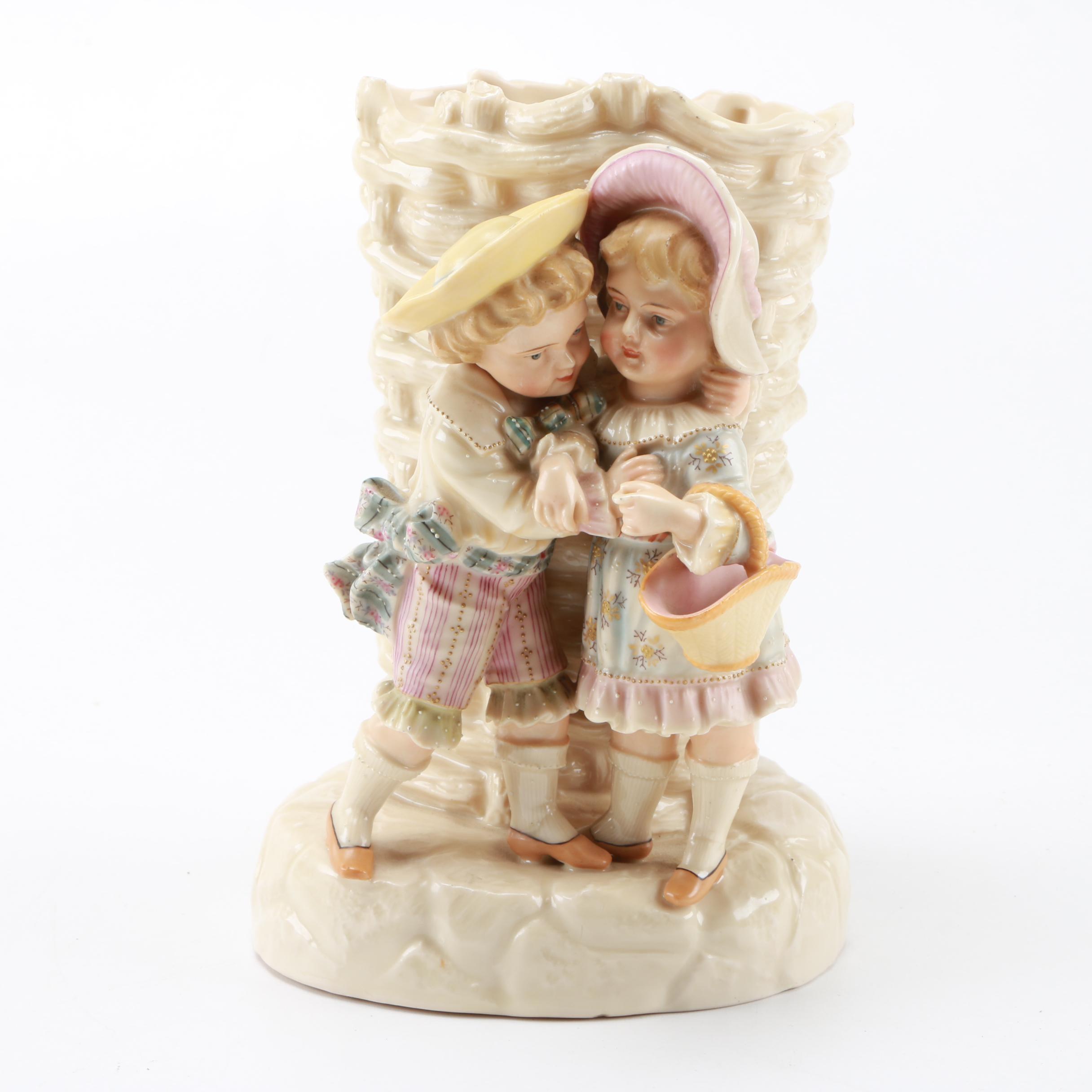 Porcelain Vase of Embracing Children