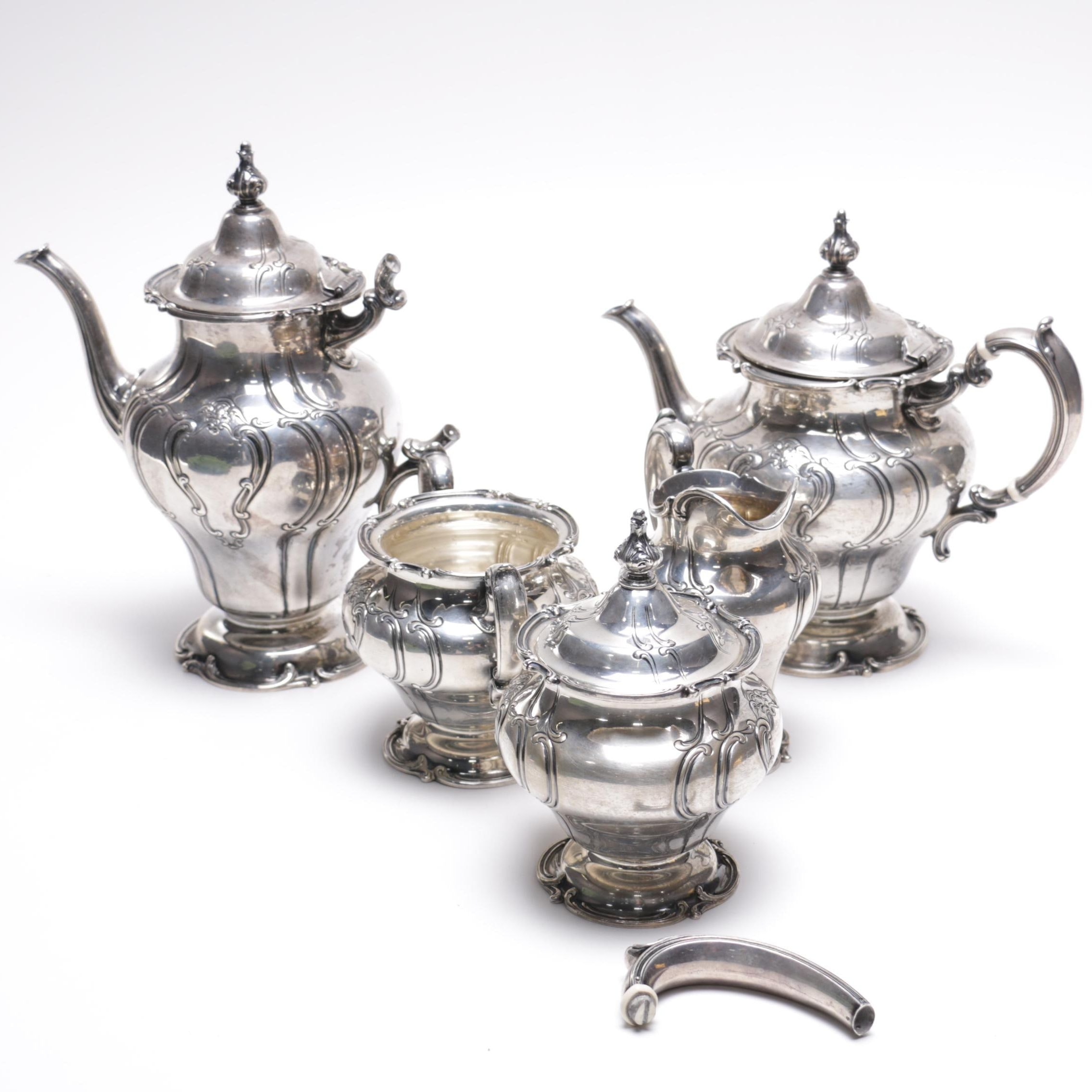 "Gorham ""Chantilly-Duchess"" Sterling Silver Coffee and Tea Set"