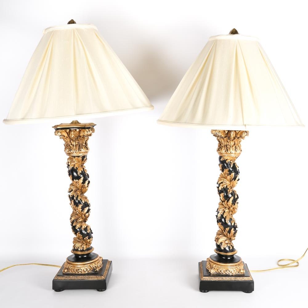 Chelsea House Black and Gold Column Lamps
