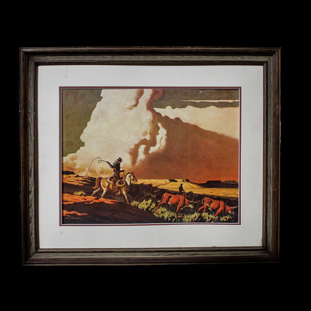 "After Bruce Bomberger Offset Lithograph ""Driving Longhorn Cattle"""