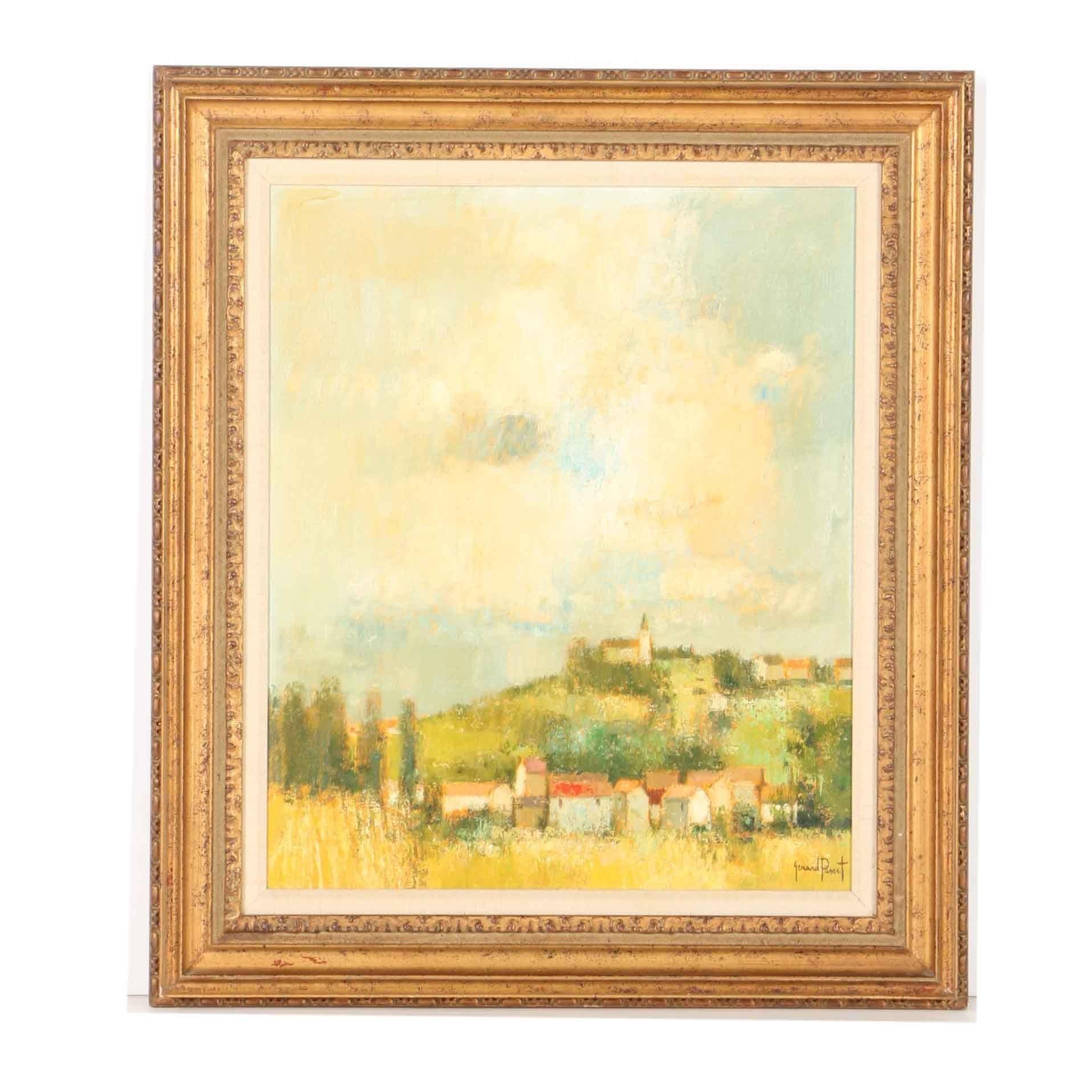 """Gérard Passet Oil on Canvas Landscape""""Village on a Hill"""""""