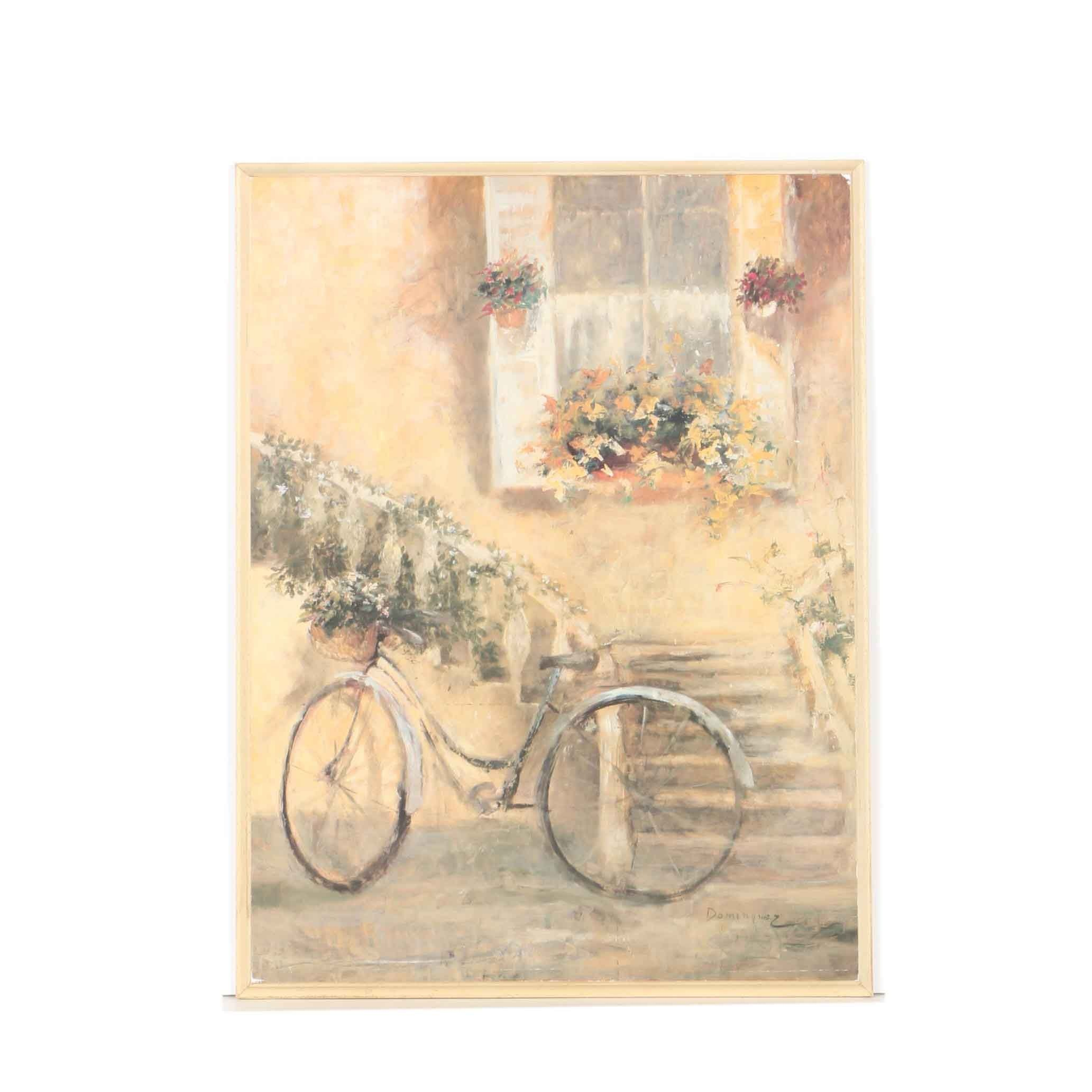 """Offset Lithograph After Miguel Dominguez """"Courtyard Bicycle"""""""