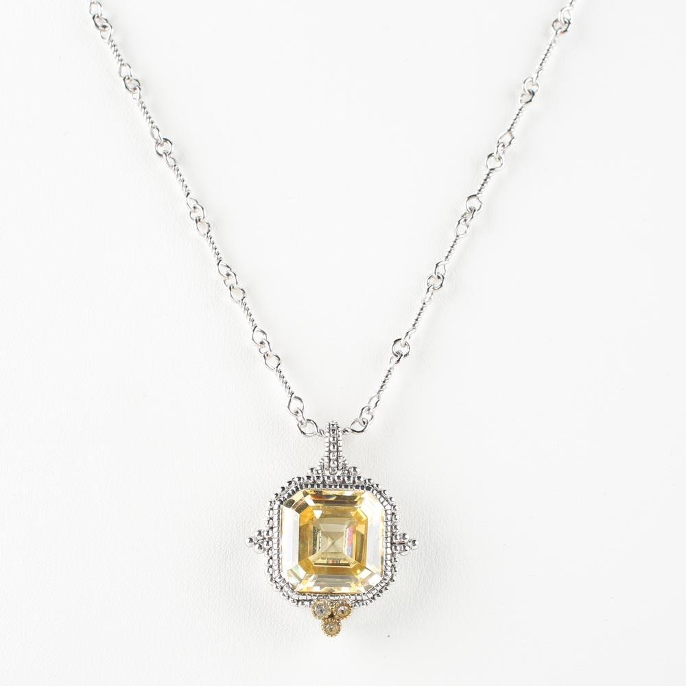 Judith Ripka Sterling Silver and 18K Gold White Topaz Pendant