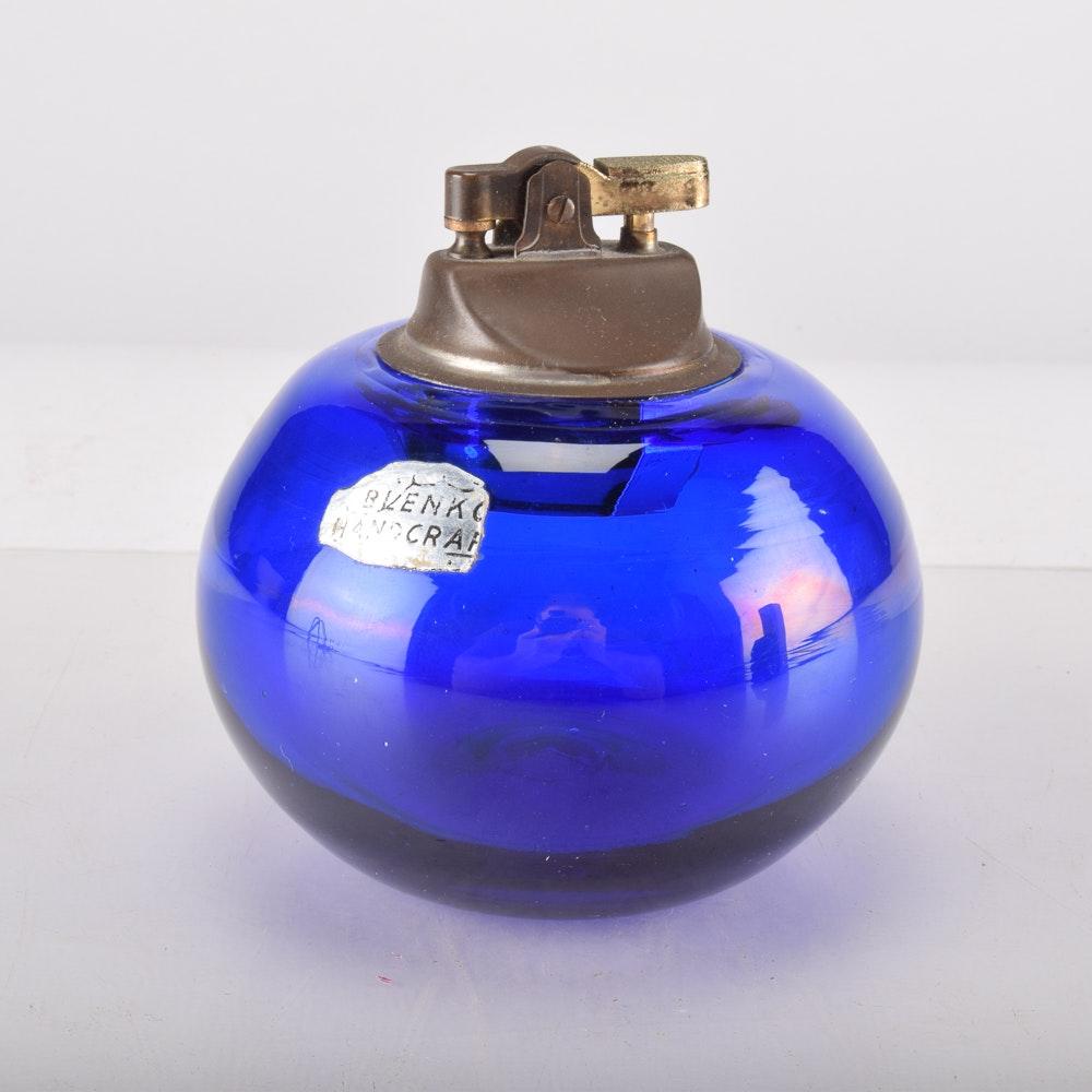 Blenko Hand-Blown Cobalt Blue Glass Table Lighter