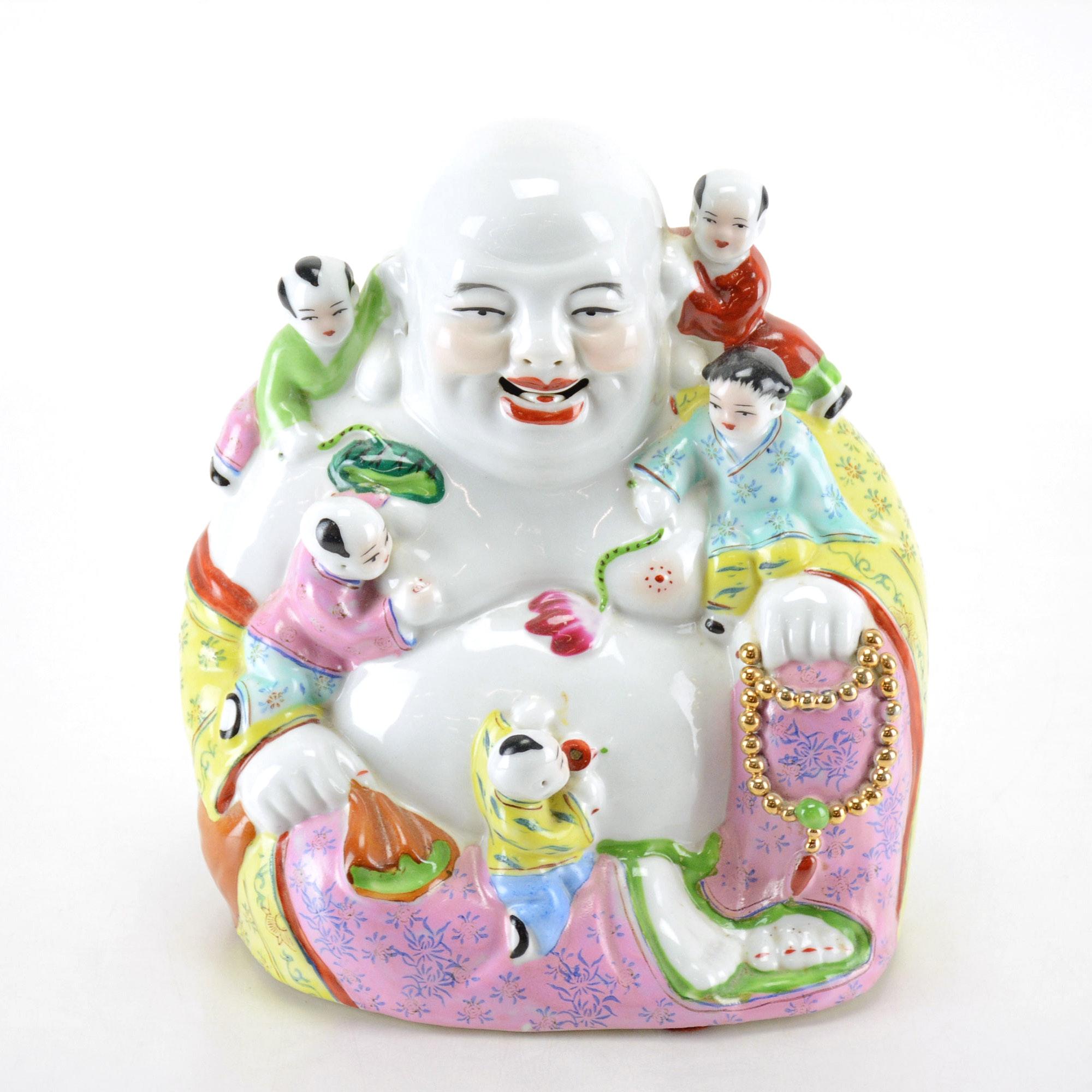 Large Porcelain Budai Figurine