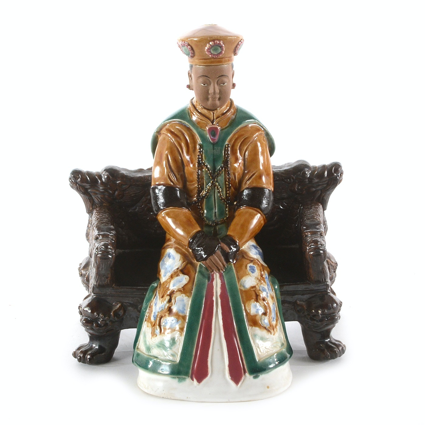 Ceramic Chinese Lu Figure on Bench