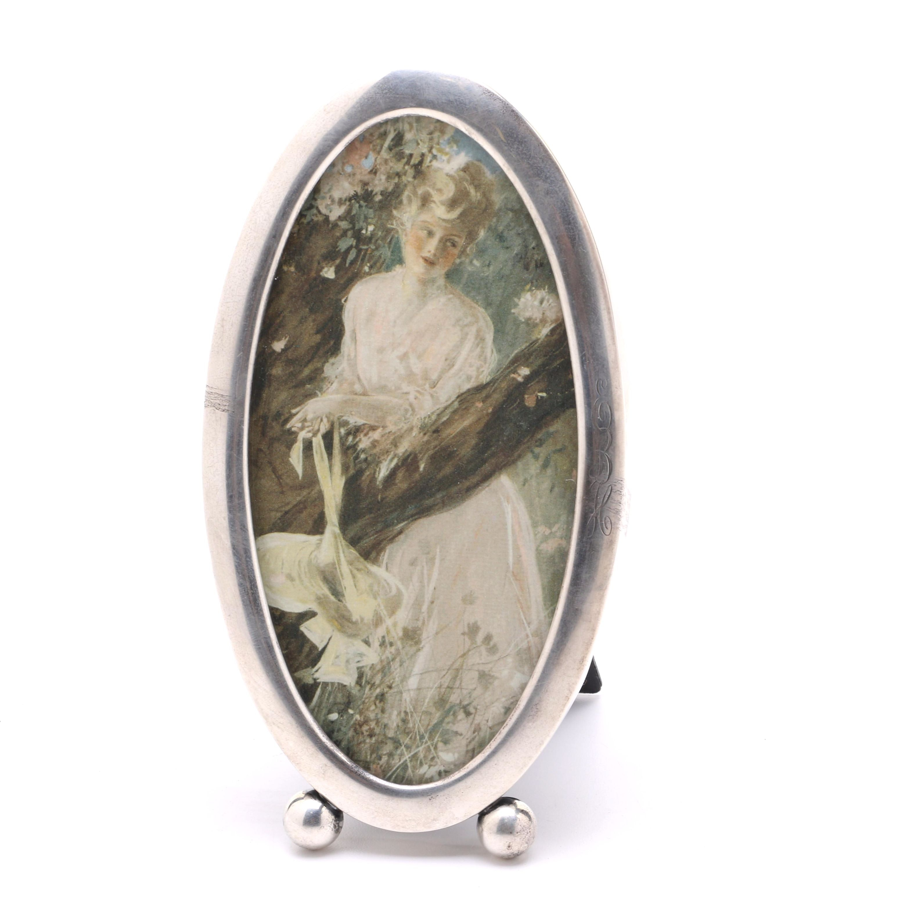 After Henry Hutt Chromolithograph Within Sterling Silver Frame