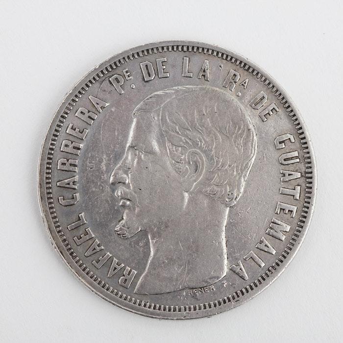 Rare 1859-R Guatemala Silver Peso