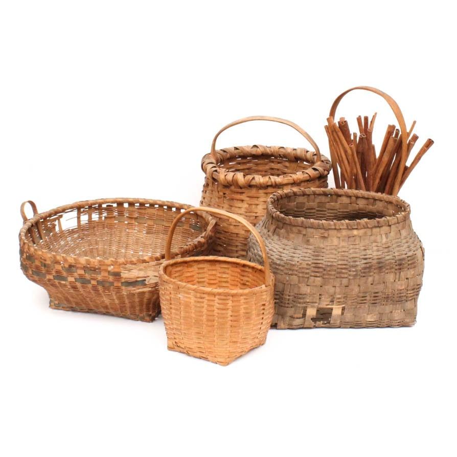 Grouping of Antique Hand Woven Garden Baskets