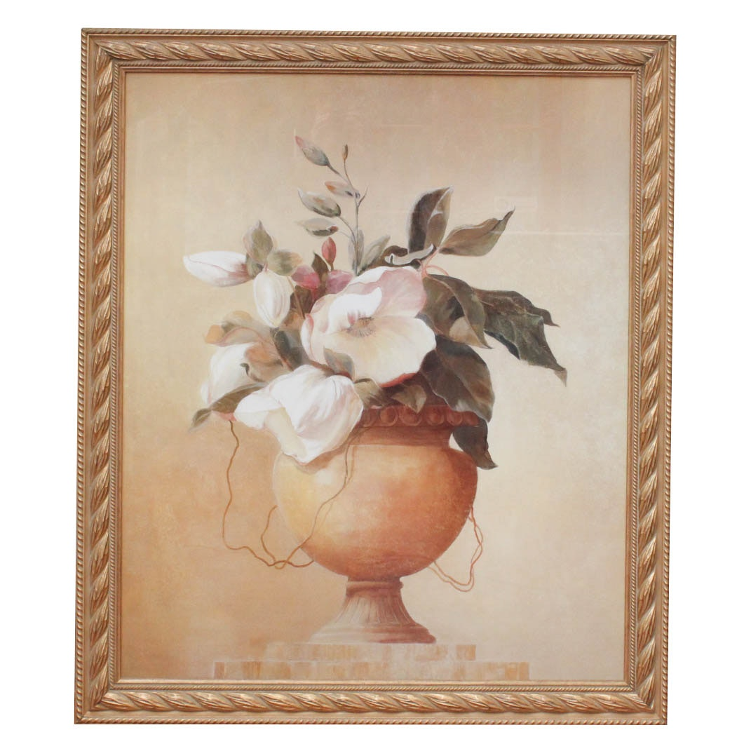 Large Scale Floral Still Life Offset Lithograph