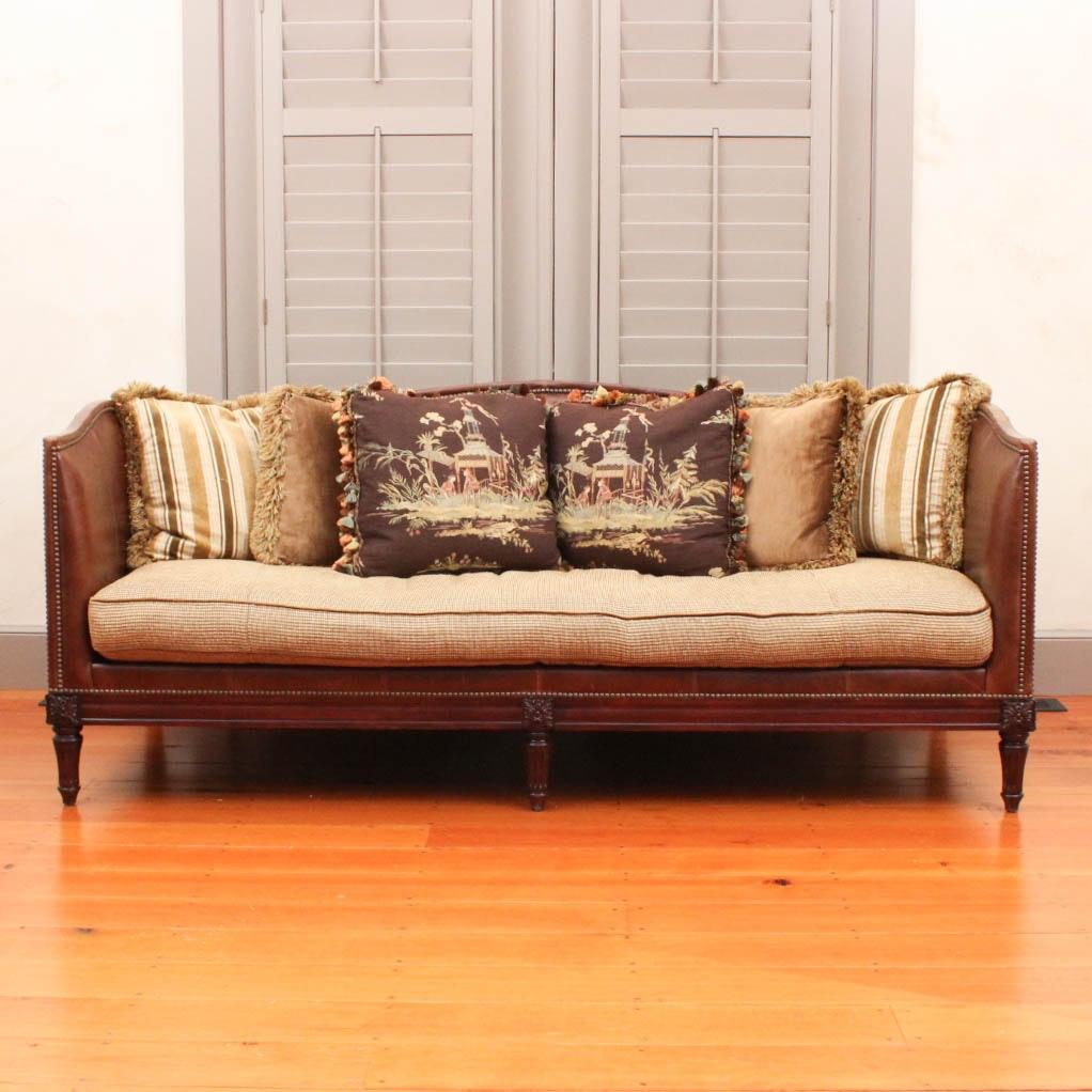 leather tuxedo belvedere sofa by lillian august ebth rh ebth com lillian august sofa hickory white Lillian August Sofa Sale