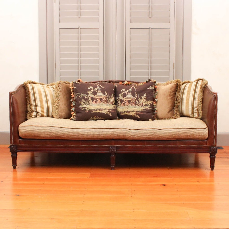 Leather Tuxedo Belvedere Sofa By Lillian August