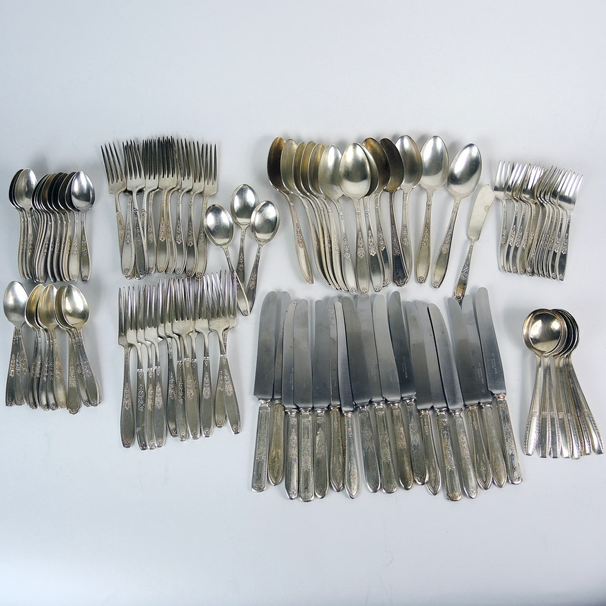 1847 Rogers Bros  Silver Plate Flatware & Wallace Soup Spoons