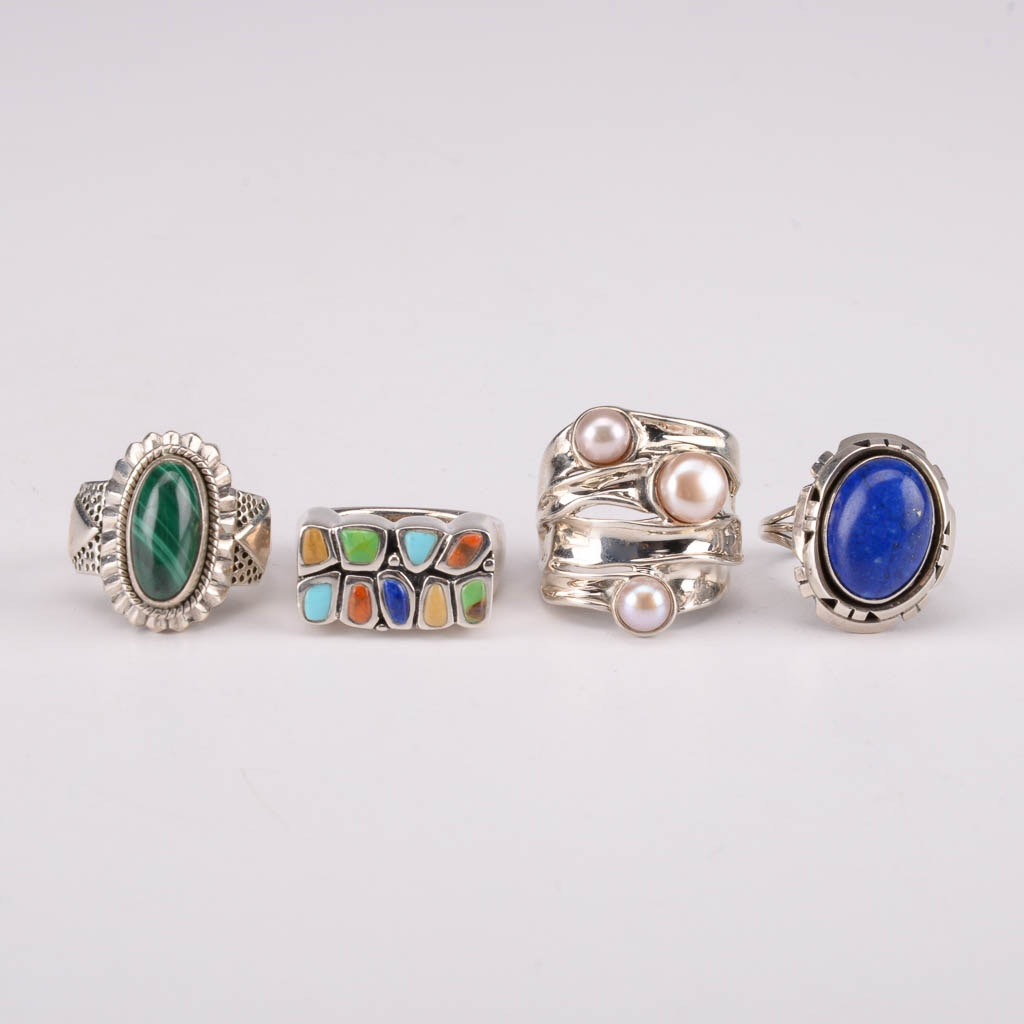 Collection of Sterling Silver Rings With Jasper, Coral, and Lapis