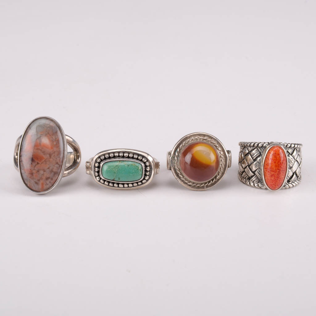 Collection of Sterling Silver Rings With Coral, Agate, and Turquoise