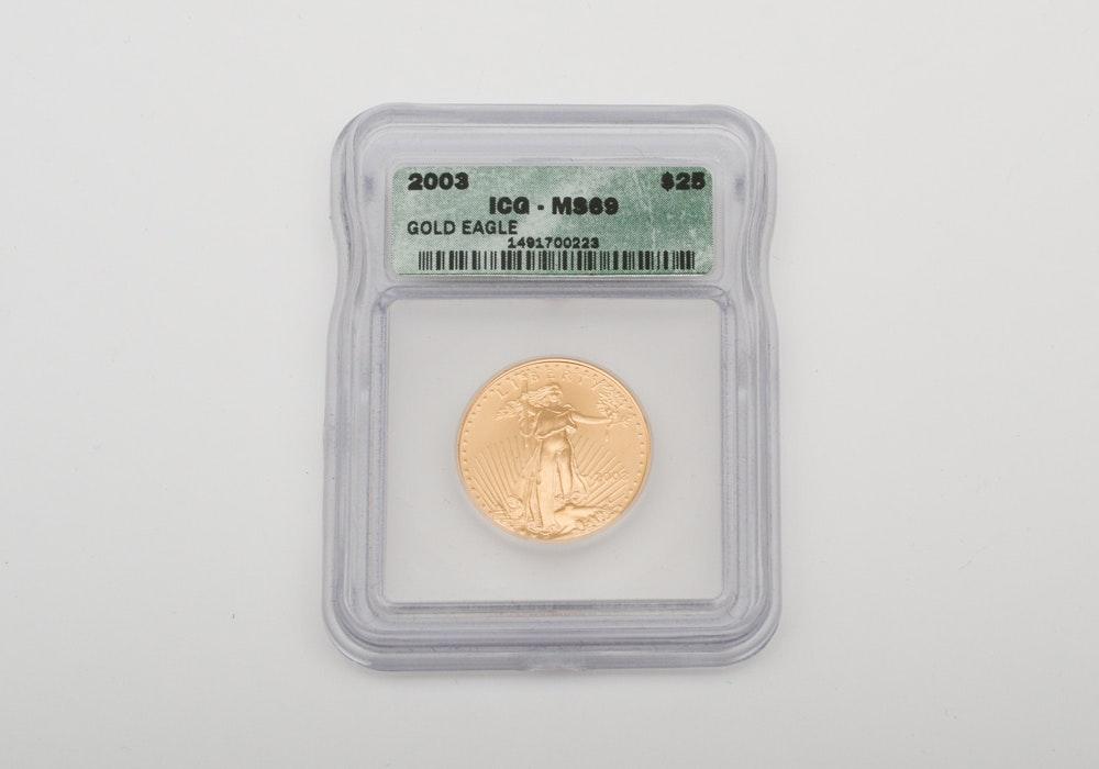 2003 Graded 1/2 Oz Twenty-Five Dollar Gold Eagle Coin