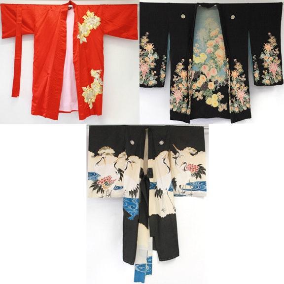 Vintage Silk Kimonos and Hakama Jackets Including Crane Embroidery, Samurai Family Emblem