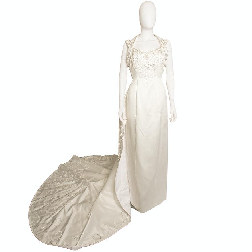 Custom Scaasi Bride For Eva H Forsyth Diana White Silk Wedding