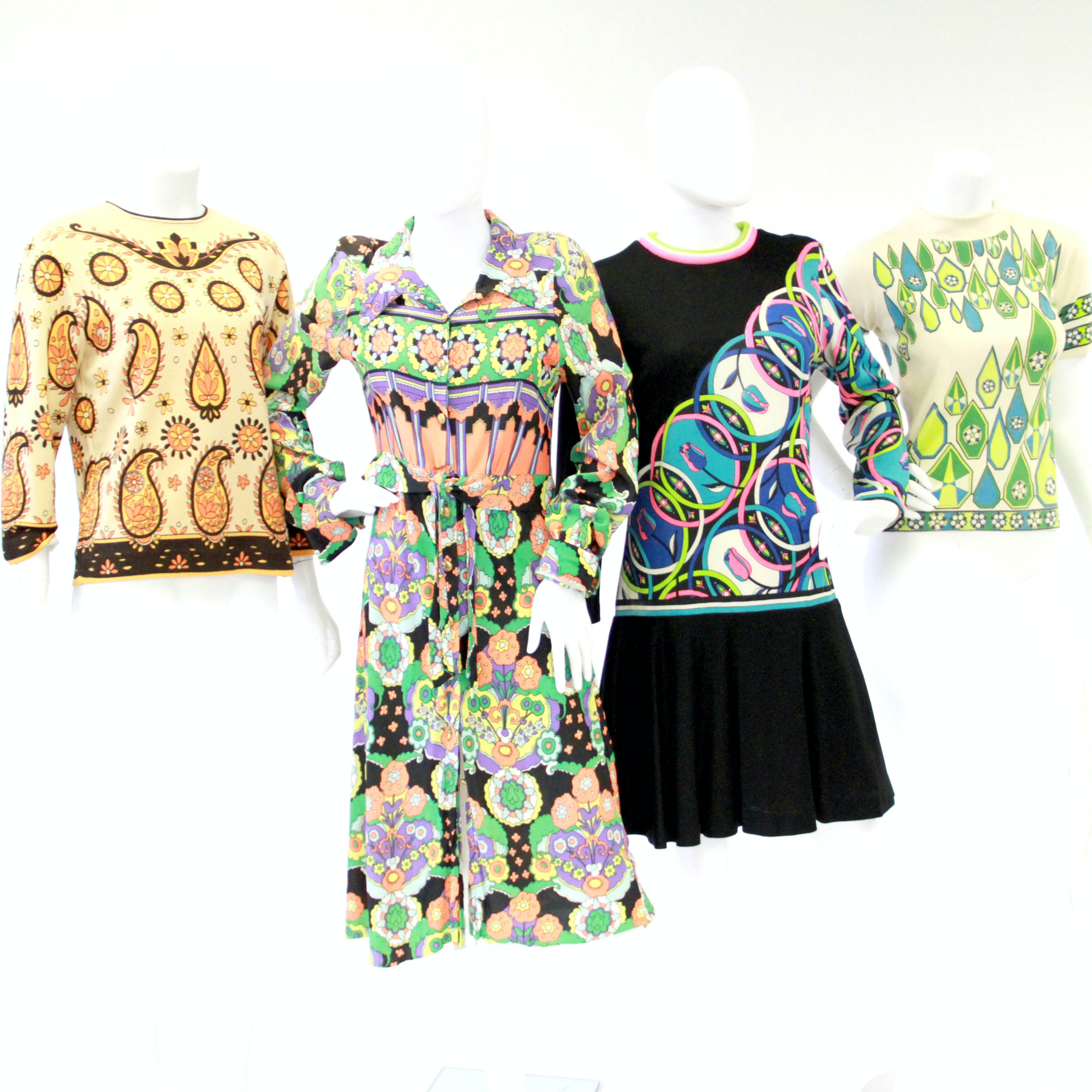 1960s Floral and Op Art Dresses and Tops Including Mr. Dino