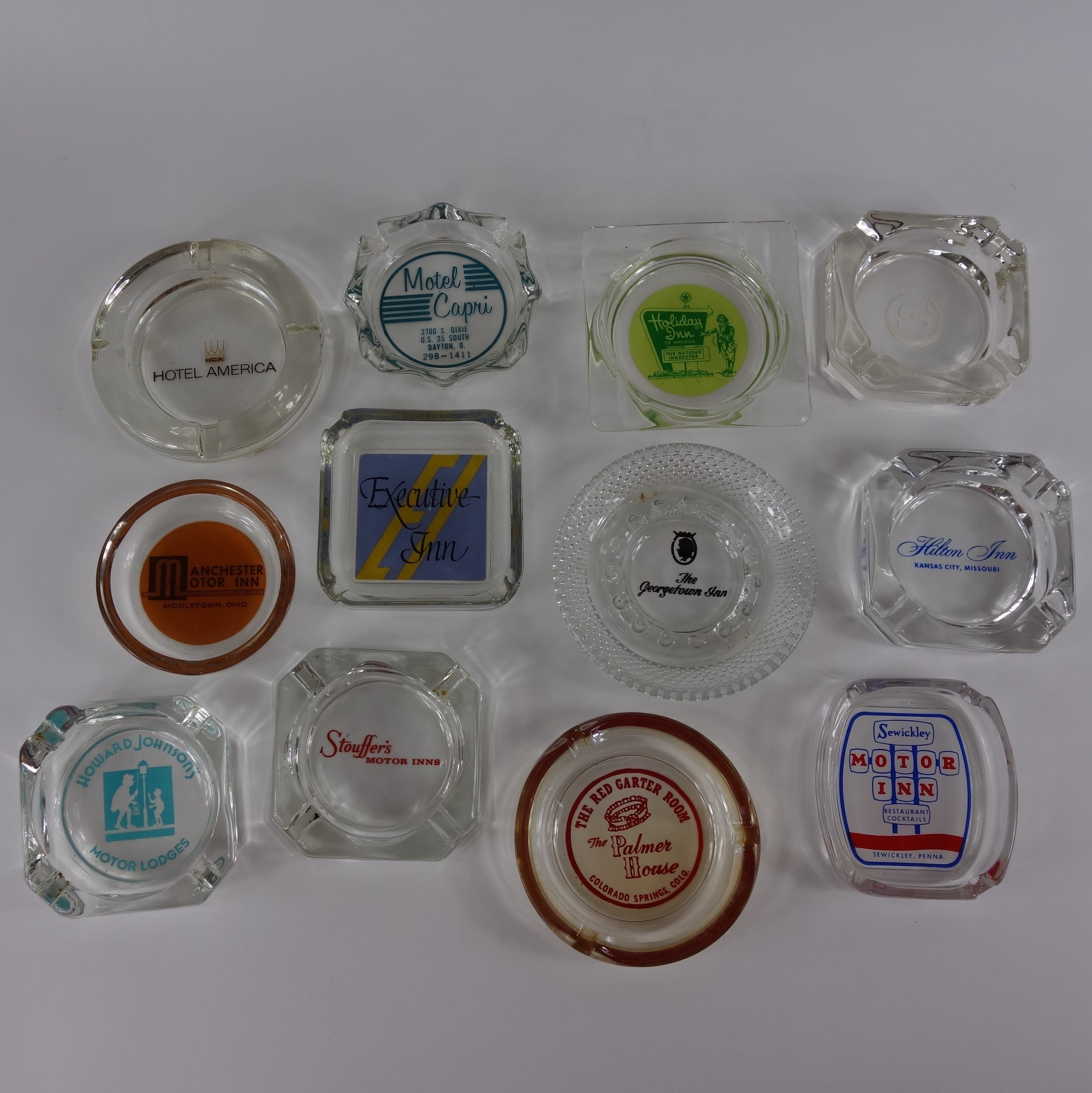 Collection of 12 Vintage Hotel Ashtrays
