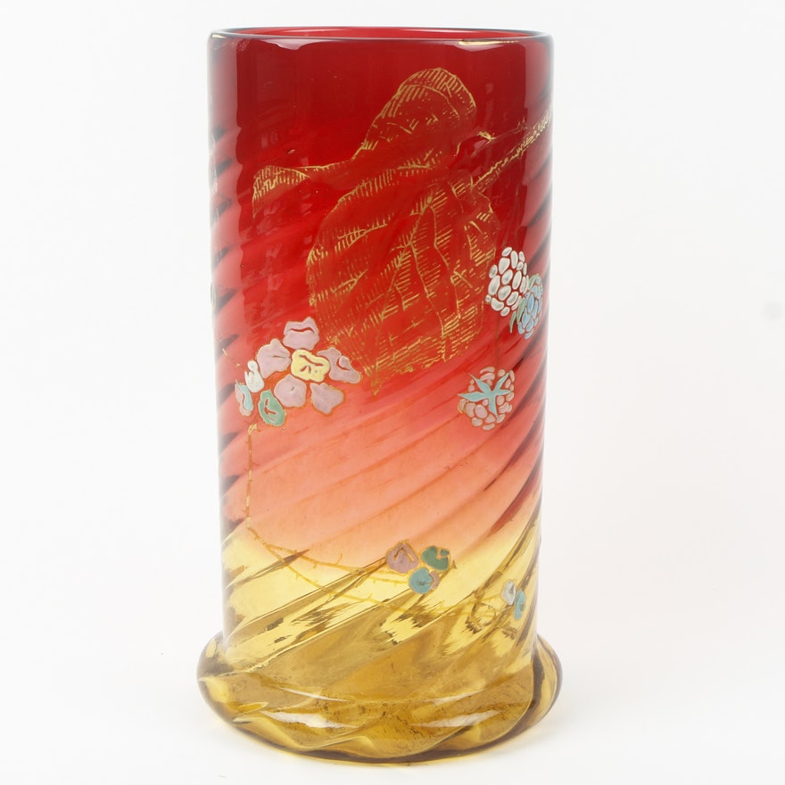 Antique Victorian Enamel Decorated Amberina Glass Vase Ebth