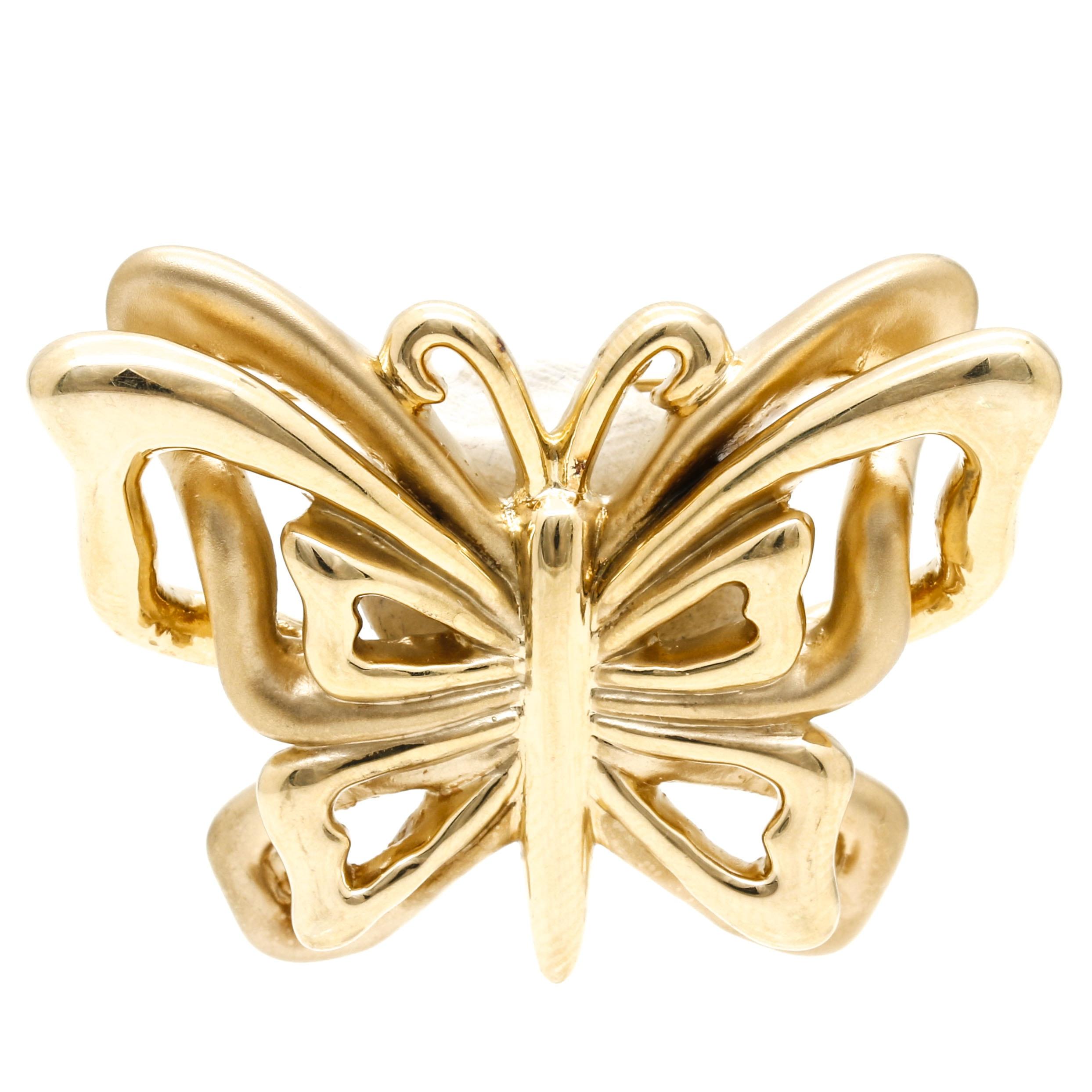 14K Yellow Gold Butterfly Brooch