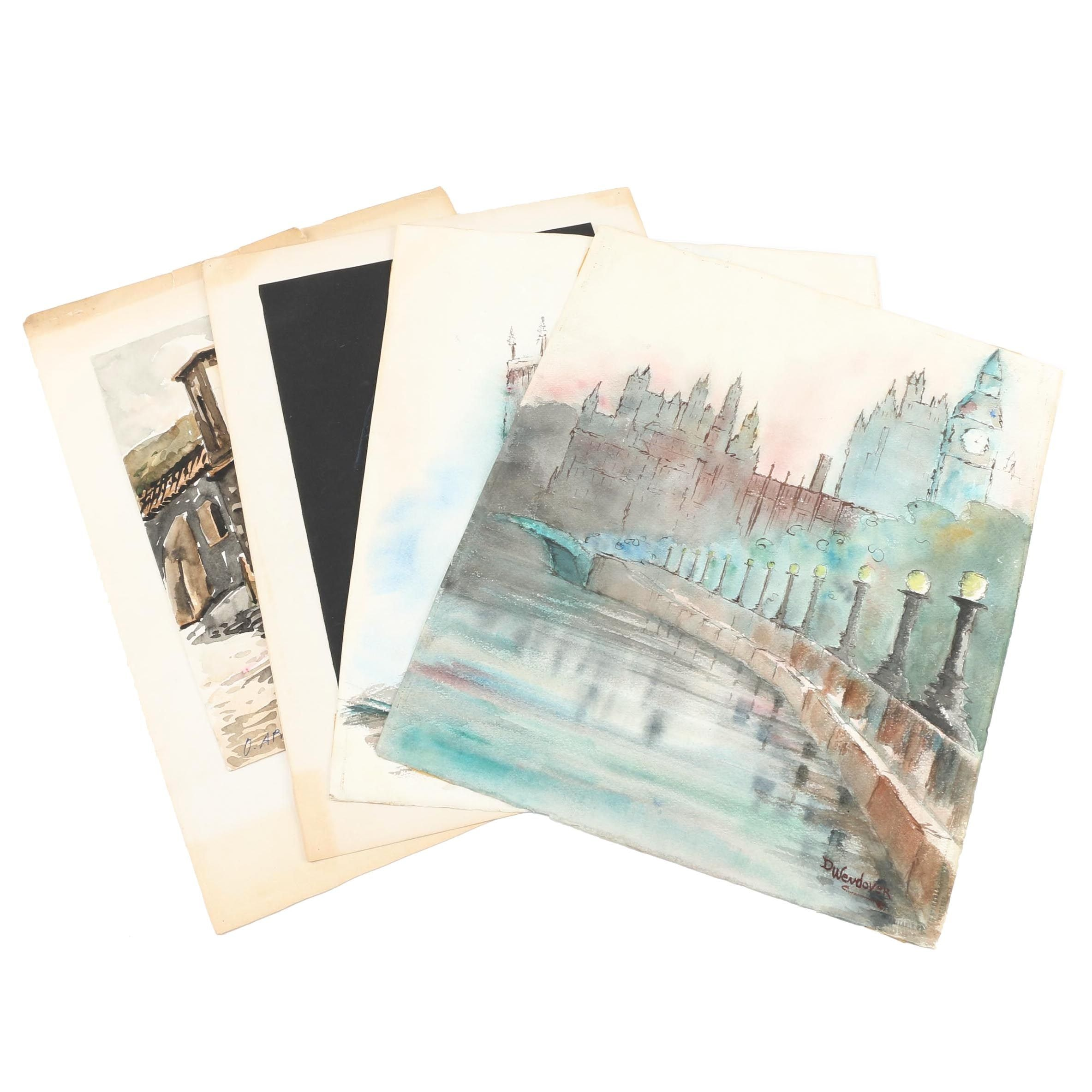 Watercolor Paintings and Drawings of Townscapes and Portraiture